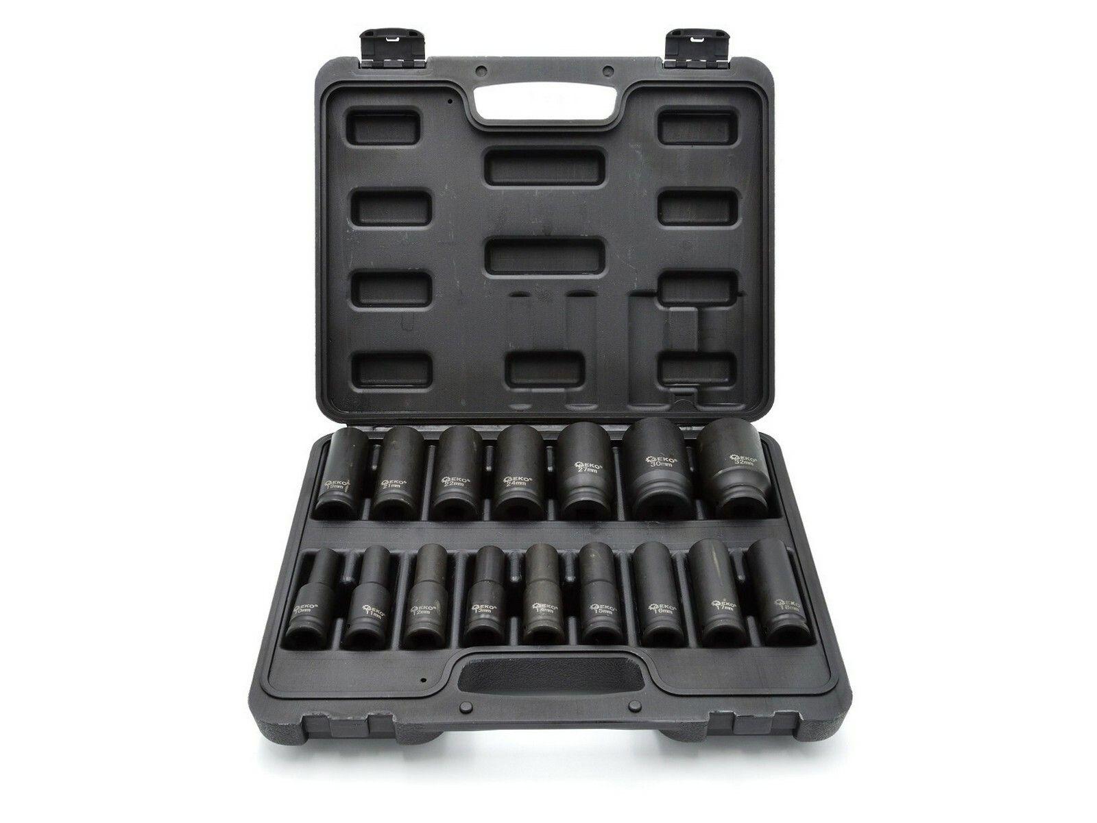 """Sada 16 nástrčných rázových hlavic 1/2"""" 10-32mm GEKO"""
