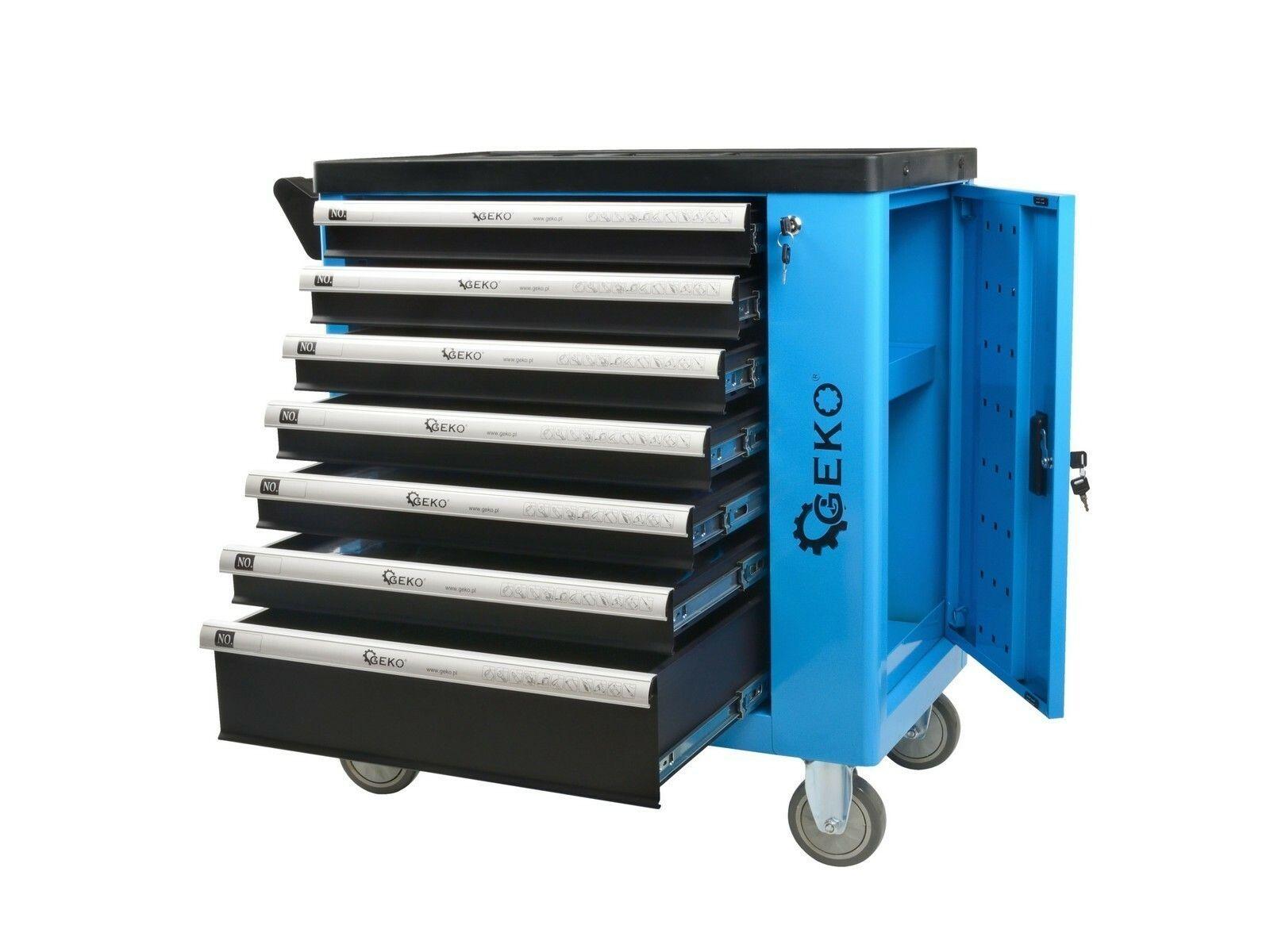 Dílenská skříňka/vozík s výbavou 243ks 7 zásuvek - poškozené stěny + šuplíky GEKO