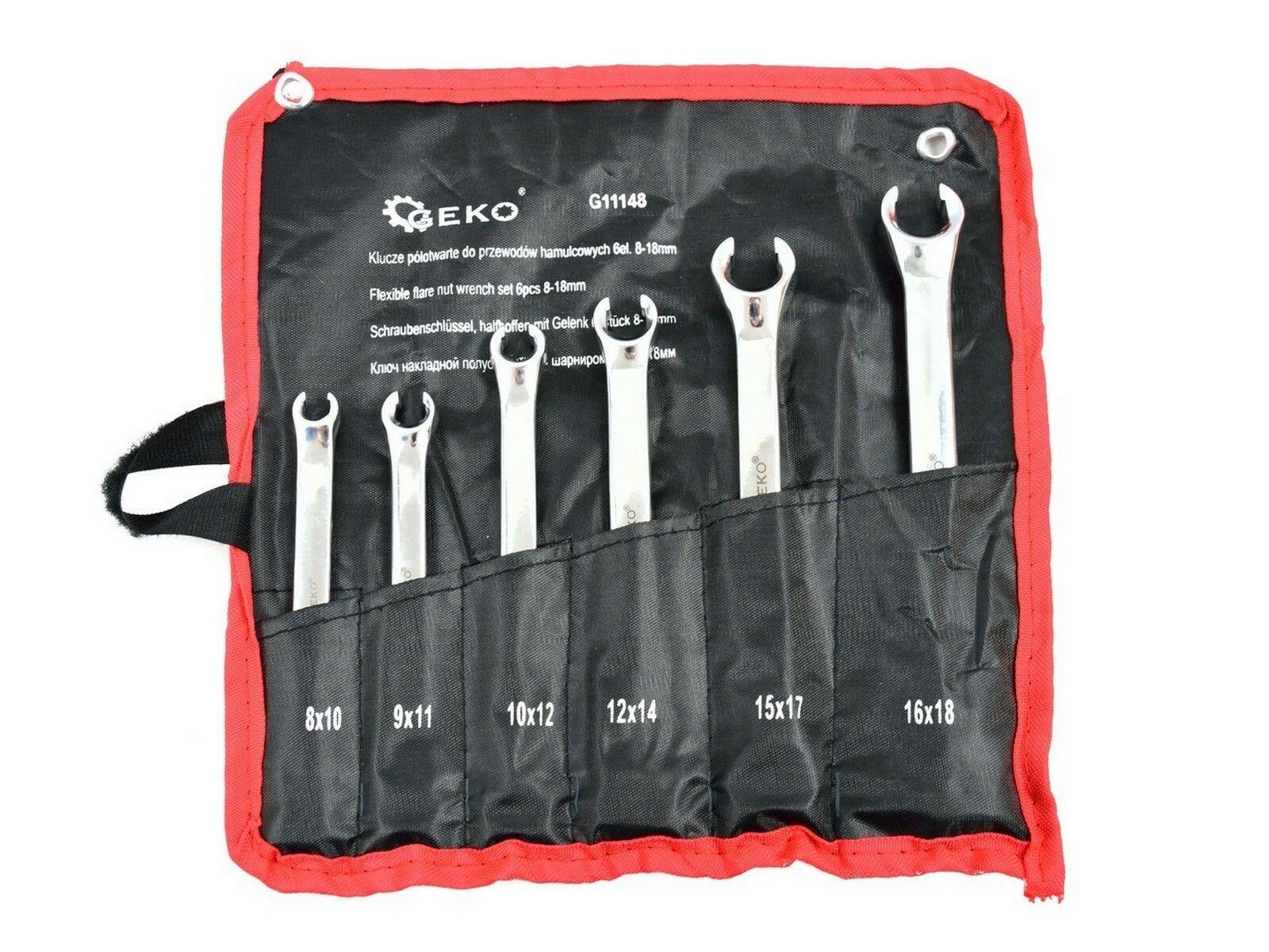 Klíče na převlečné matice brzdových vedení, 6ks, 8-18mm, GEKO