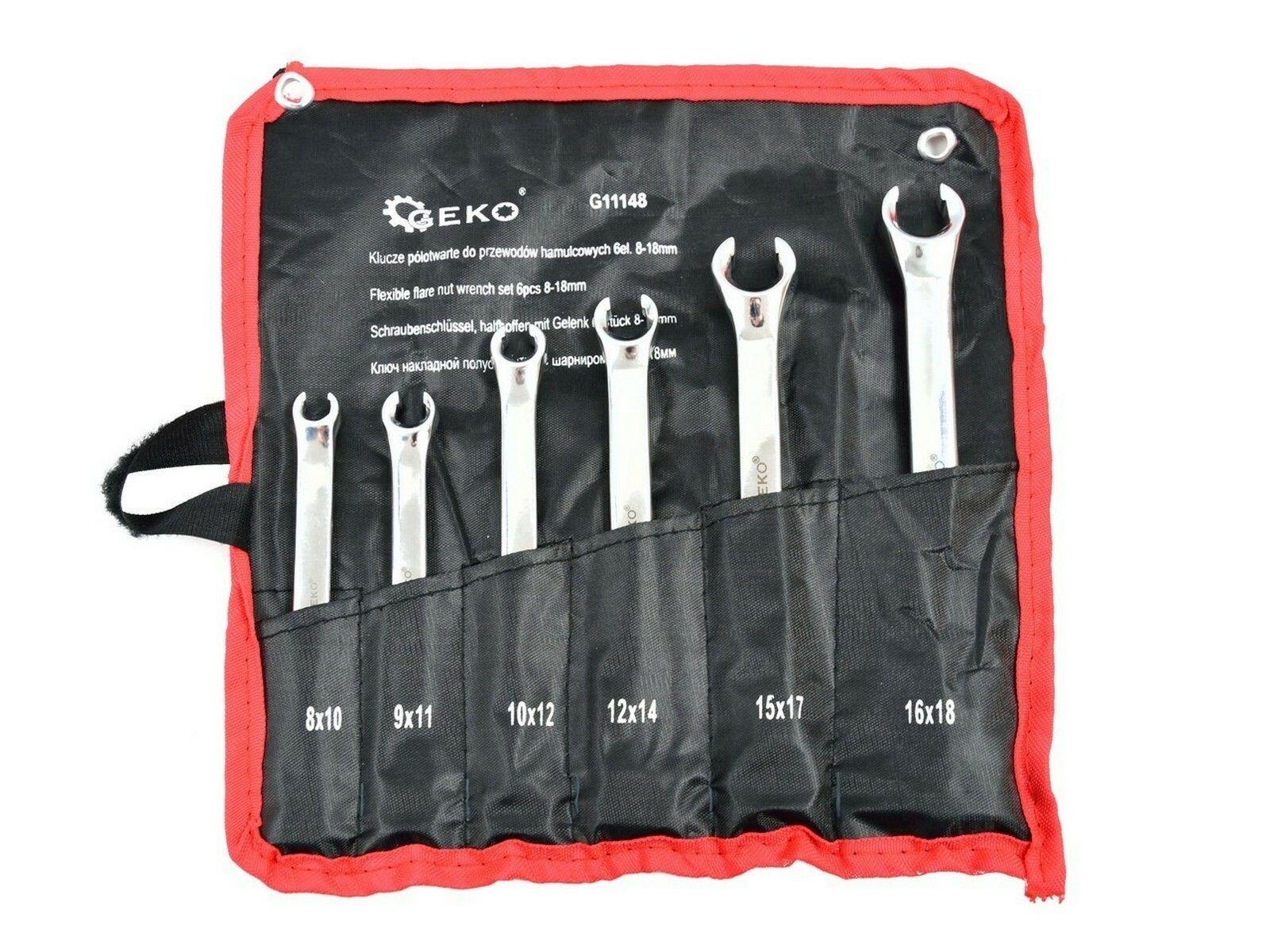 Klíče na převlečné matice brzdových vedení, 6ks, 8-18mm GEKO