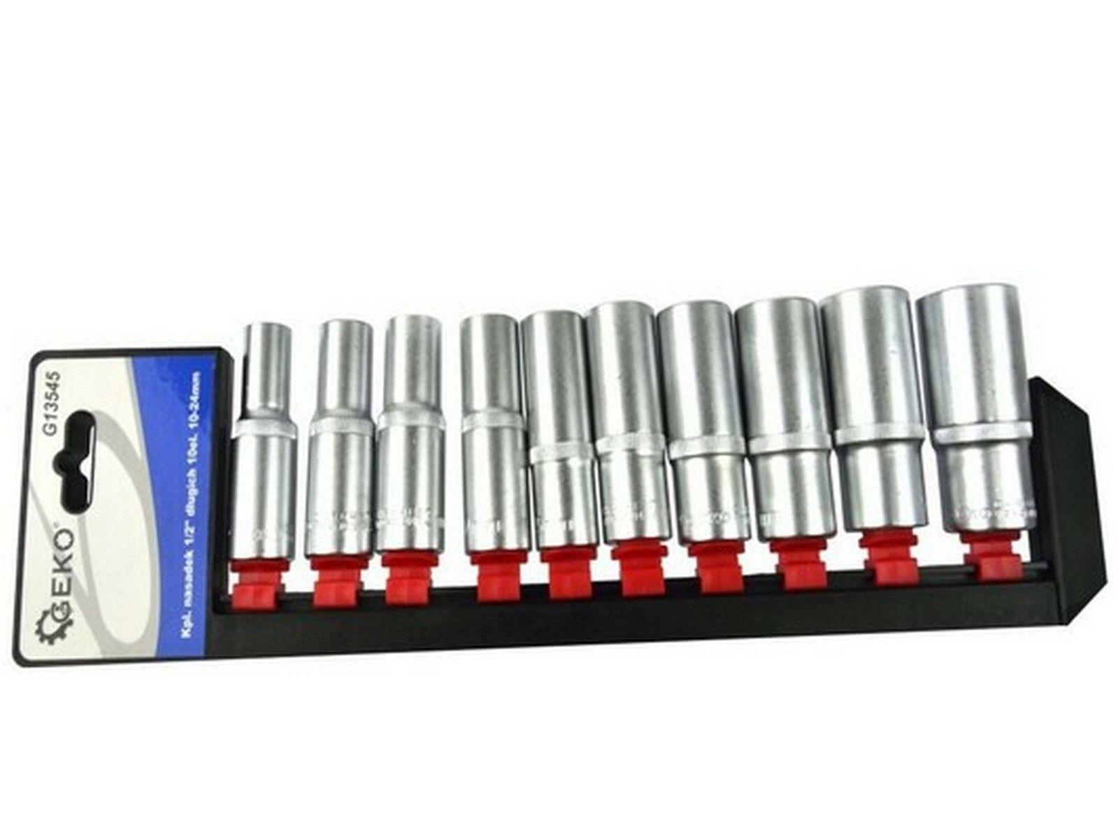 """Nástrčné hlavice prodloužené 1/2"""", sada 10ks, 10-24mm, CrV ocel GEKO"""