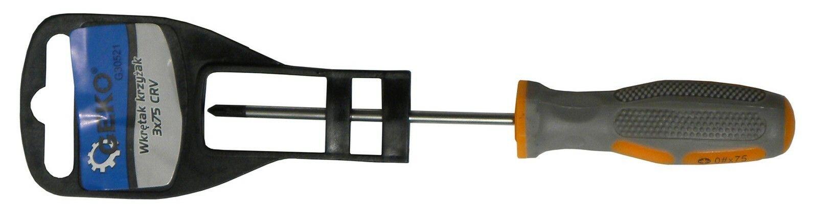 Šroubovák křížový, PH 3x75mm, CrV GEKO