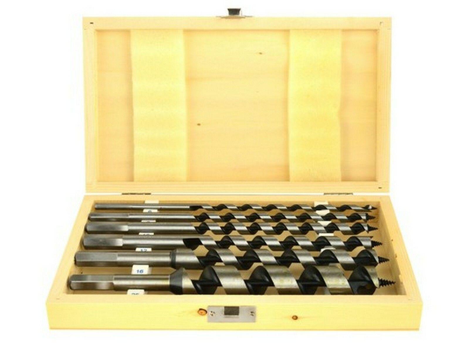 Vrtáky hadovité do dřeva, sada 6ks, 6-25mm, délka 230mm, v dřevěné kazetě GEKO