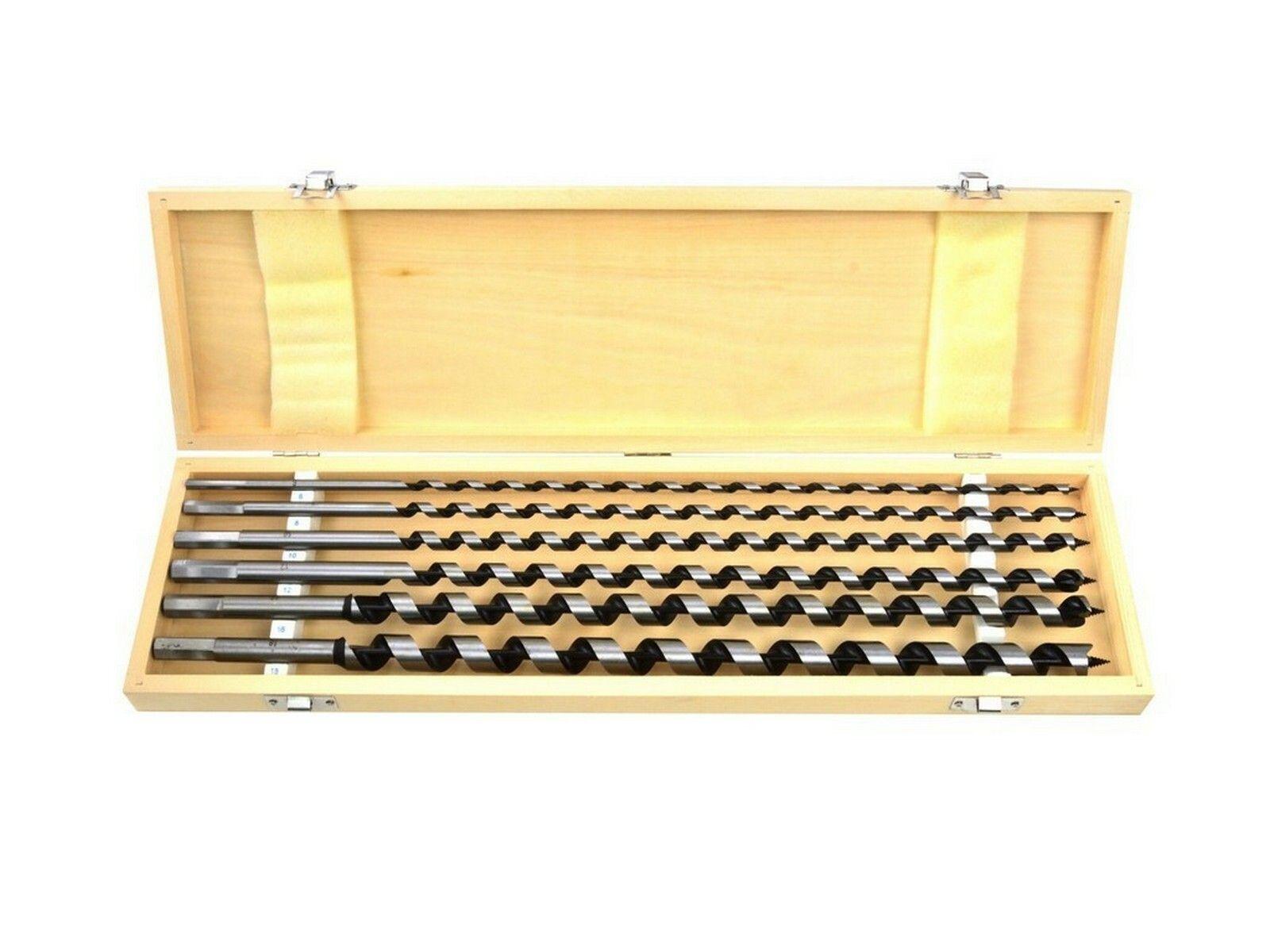 Vrtáky hadovité do dřeva, 6ks, dřevěná kazeta, 460mm, 6-18mm GEKO