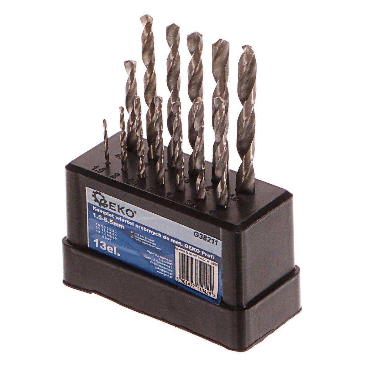 Vrtáky do kovu, sada 13ks, 1,5-6,5mm, HSS TiN, GEKO PROFI G38211