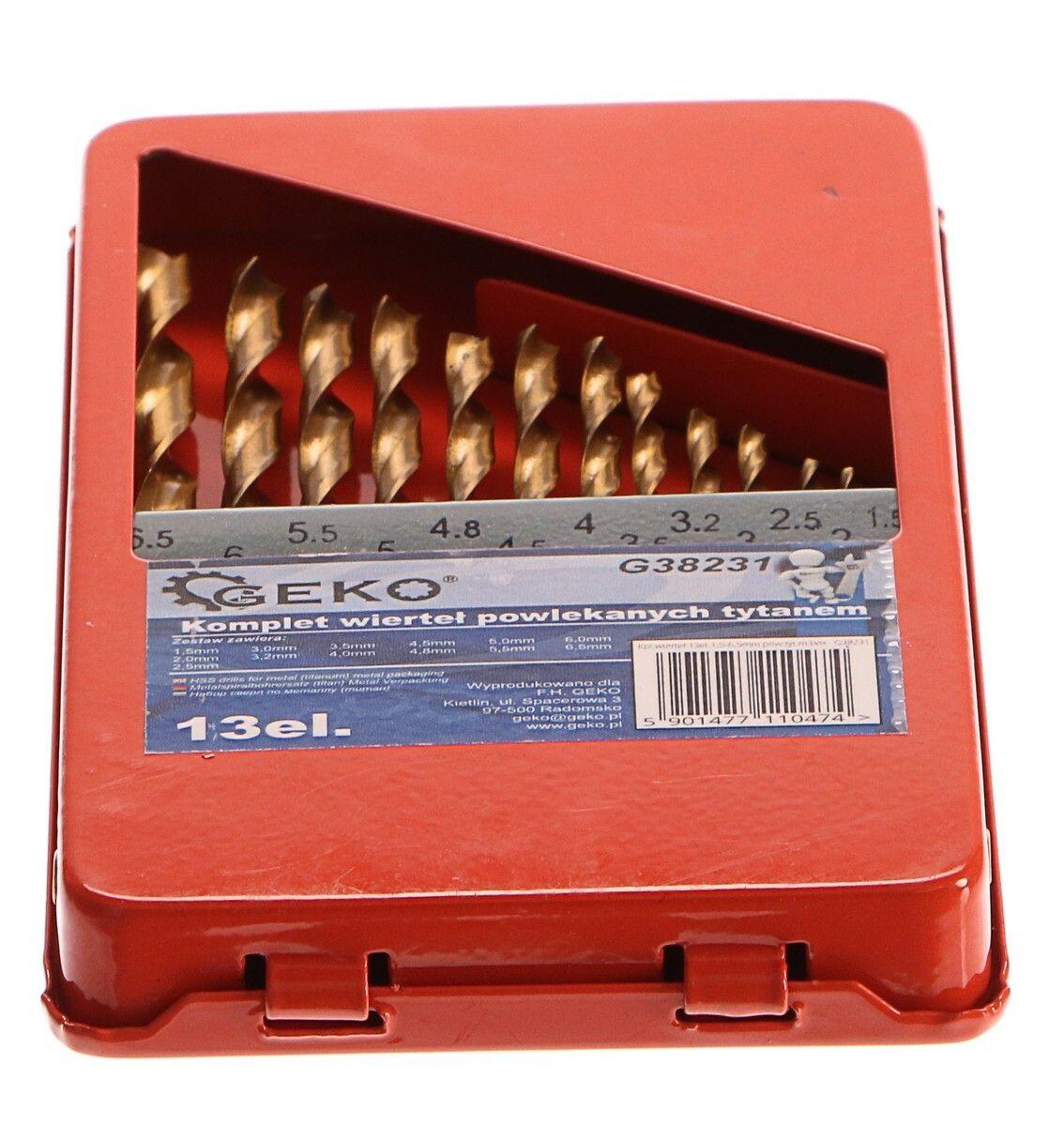 Vrtáky do kovu v krabičce, sada 13ks, 1,5-6,5mm, HSS GEKO