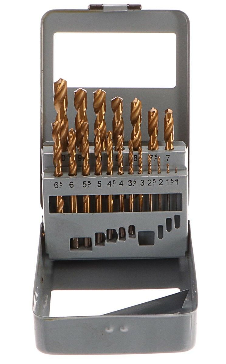 Vrtáky do kovu v kovové krabičce, sada 19ks, 1-10mm, po 0,5mm GEKO