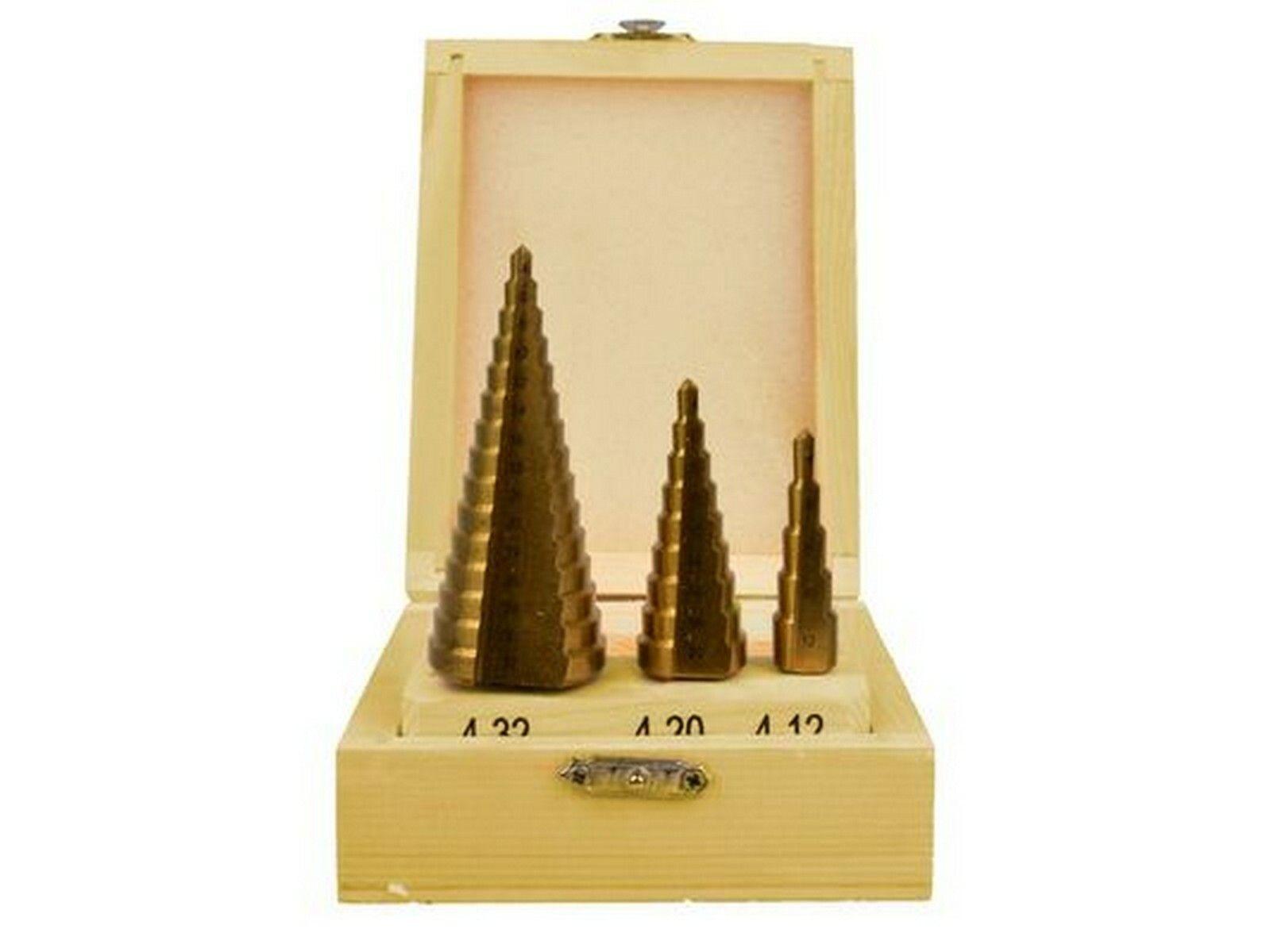 Vrtáky stupňovté, sada 3ks, 4-12mm, 4-20mm, 4-32mm, dřevěná kazeta, TiN GEKO
