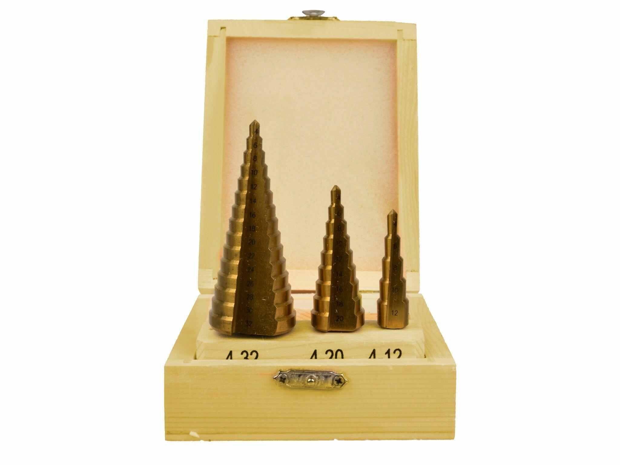 Vrtáky stupňovté, sada 3ks, 4-12mm, 4-20mm, 4-32mm, dřevěná kazeta, TiN, GEKO