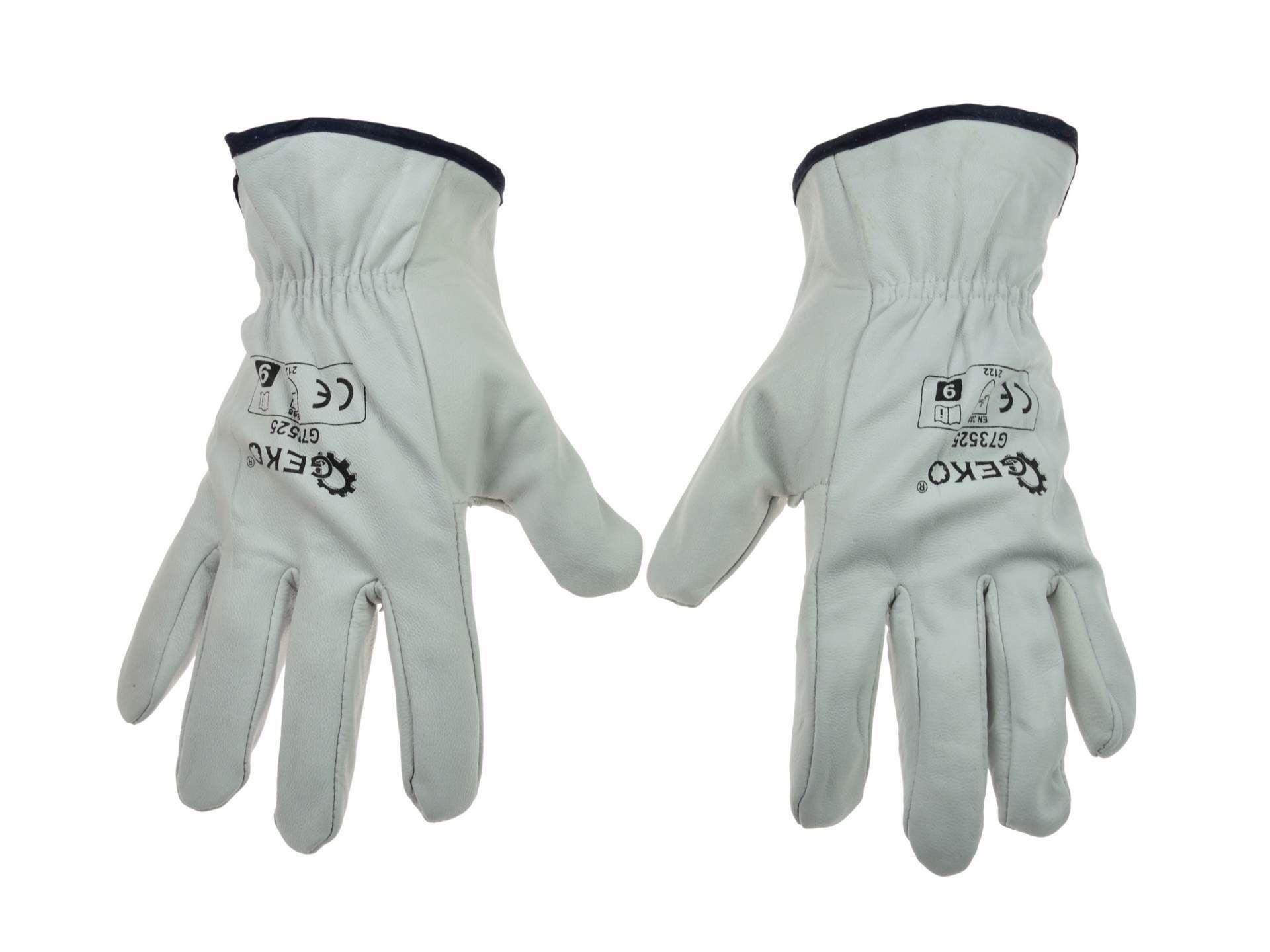 Pracovní kožené rukavice, vel. 9 GEKO