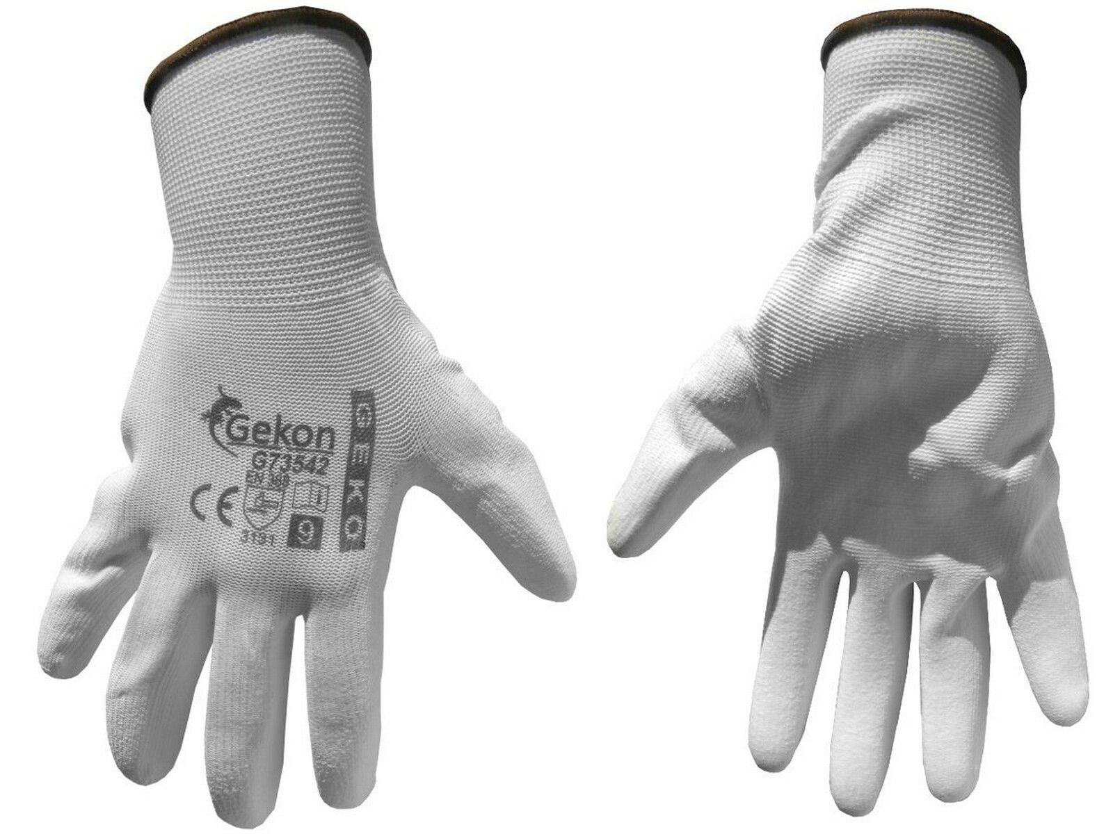 """Ochranné rukavice bílé z pletené bavlny, polomáčené v PU, velikost 9"""" GEKO G73542"""