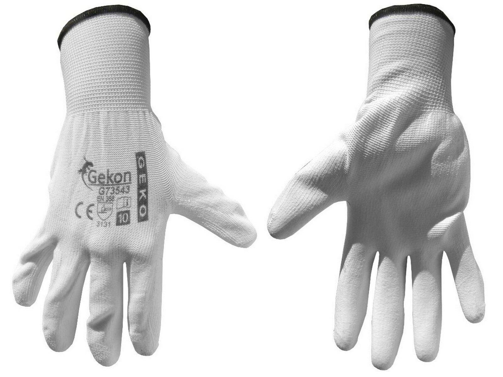"""Ochranné rukavice bílé z pletené bavlny, polomáčené v PU, velikost 10"""" GEKO G73543"""