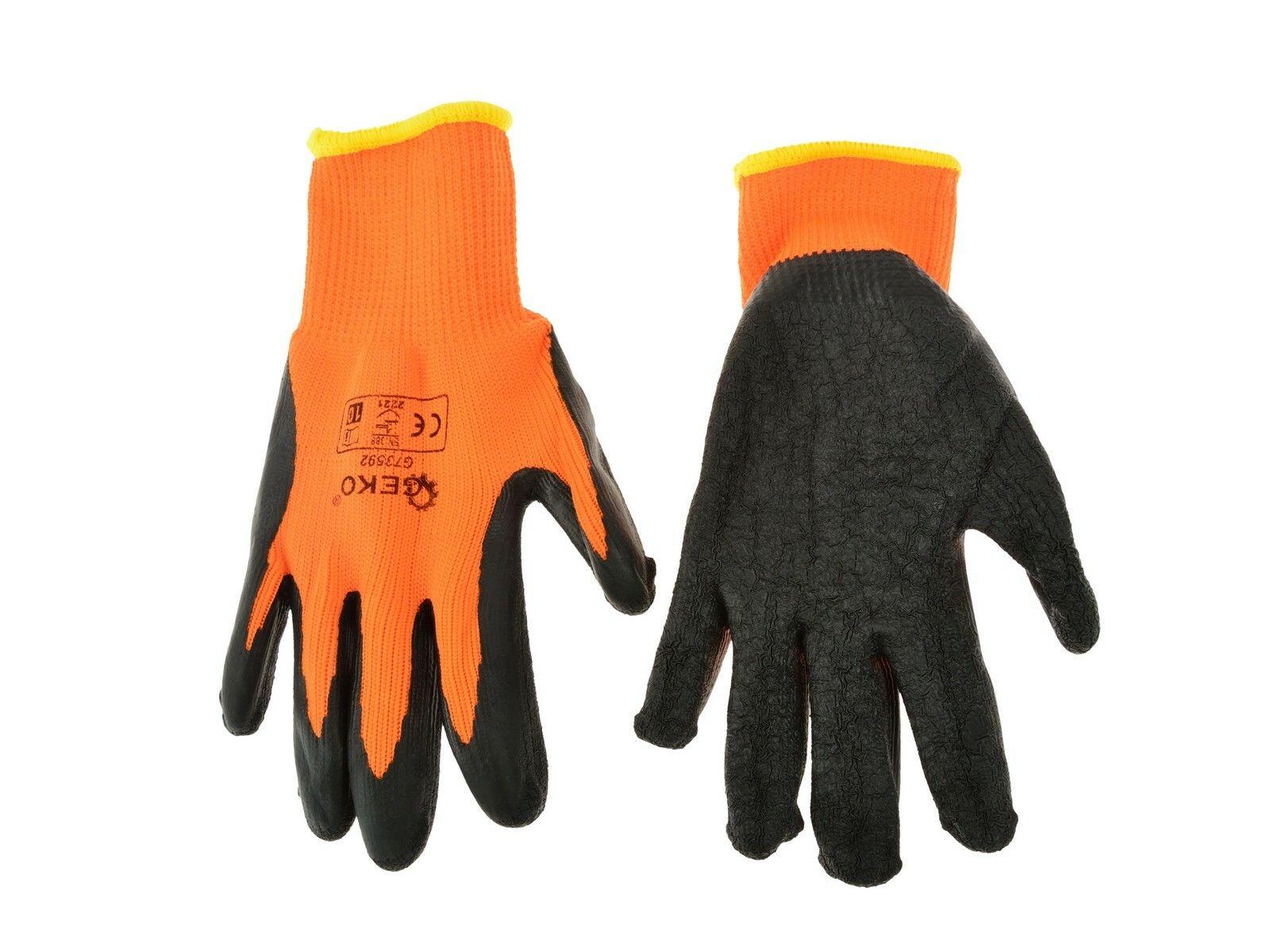 Pracovní zimní rukavice vel. 9 oranžové GEKO