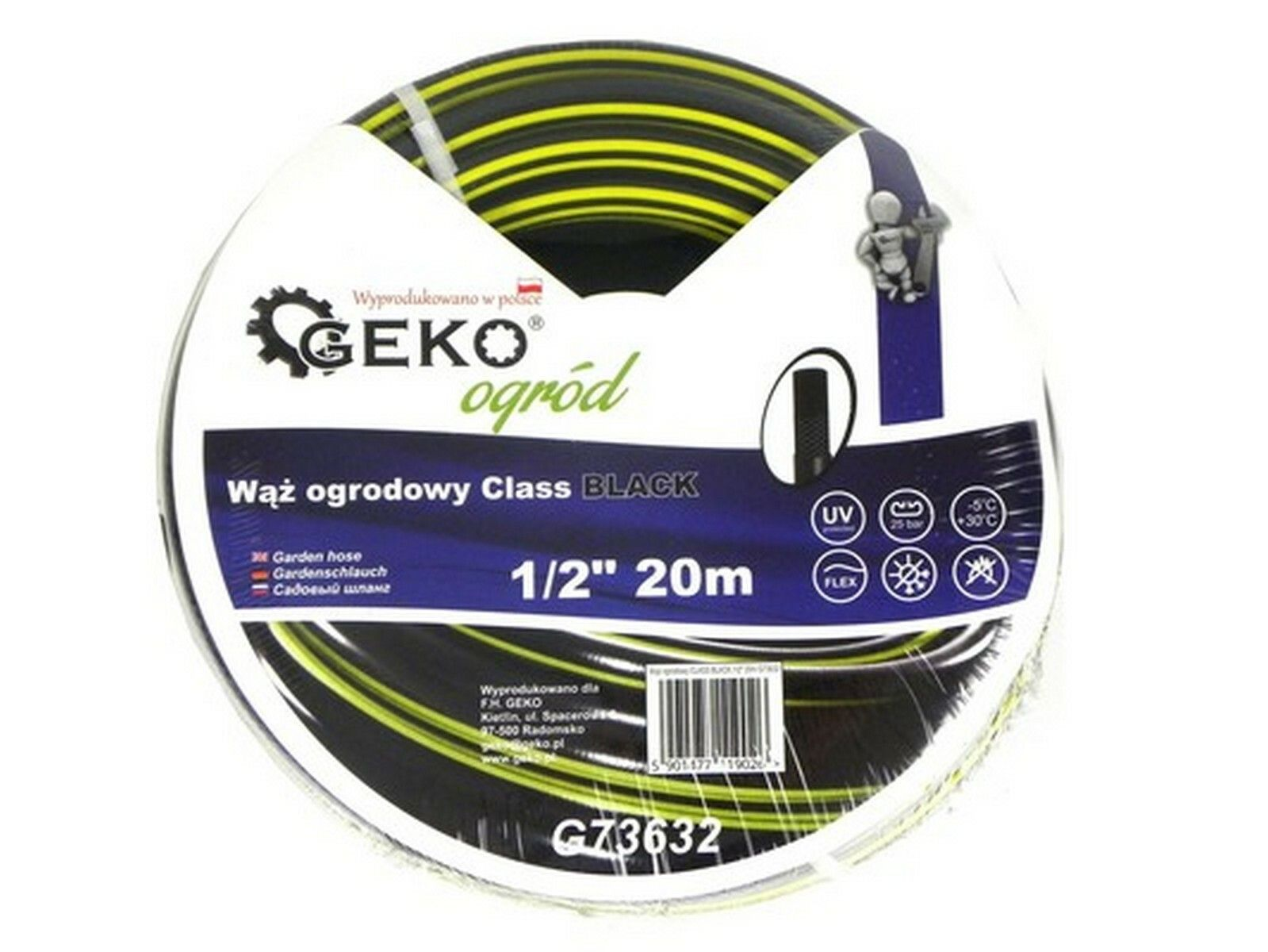 "Hadice zahradní černá 1/2"", 20 m GEKO"