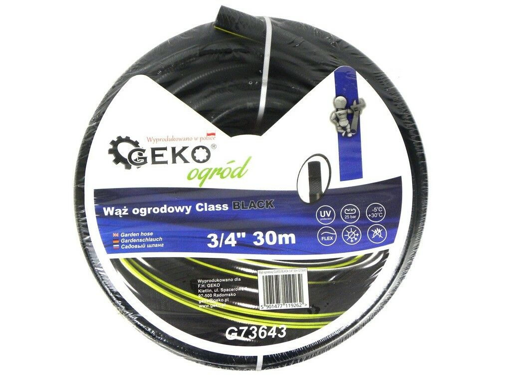 "Hadice zahradní černá 3/4"", 30 m, GEKO"