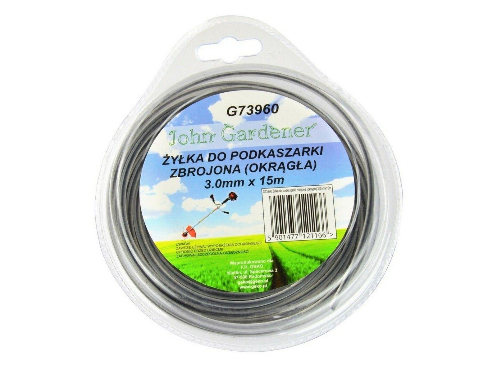 Fotografie Struna do sekačky zesílená, 3,0mm, 15m, kulatý profil, nylon GEKO