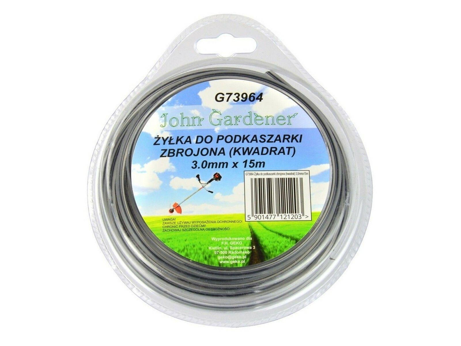 Fotografie Struna do sekačky zesílená, 3,0mm, 15m, čtvercový profil, nylon GEKO