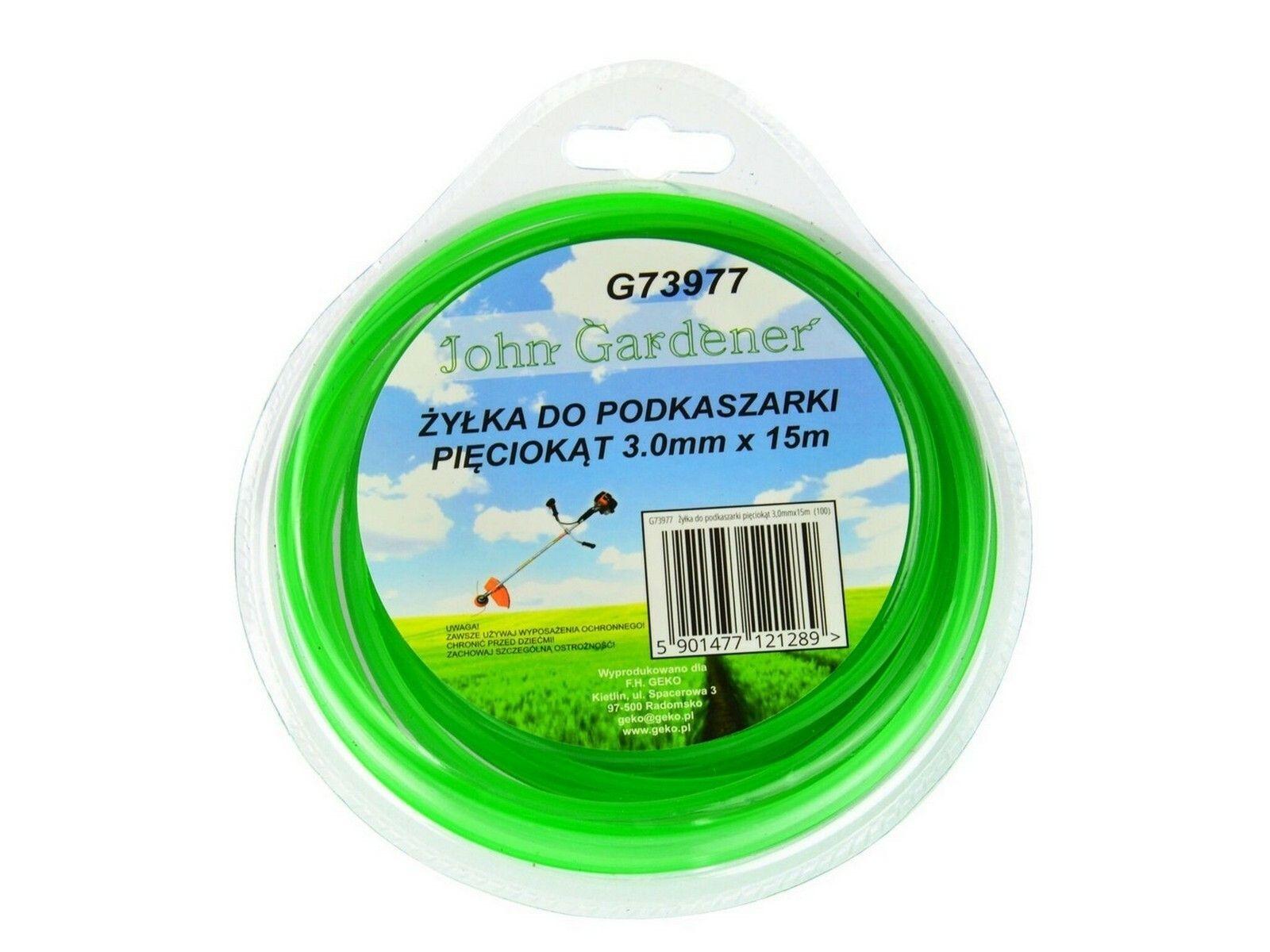 Struna do sekačky zelená zesílená, 3,0mm, 15m, hvězdicový profil, nylon GEKO
