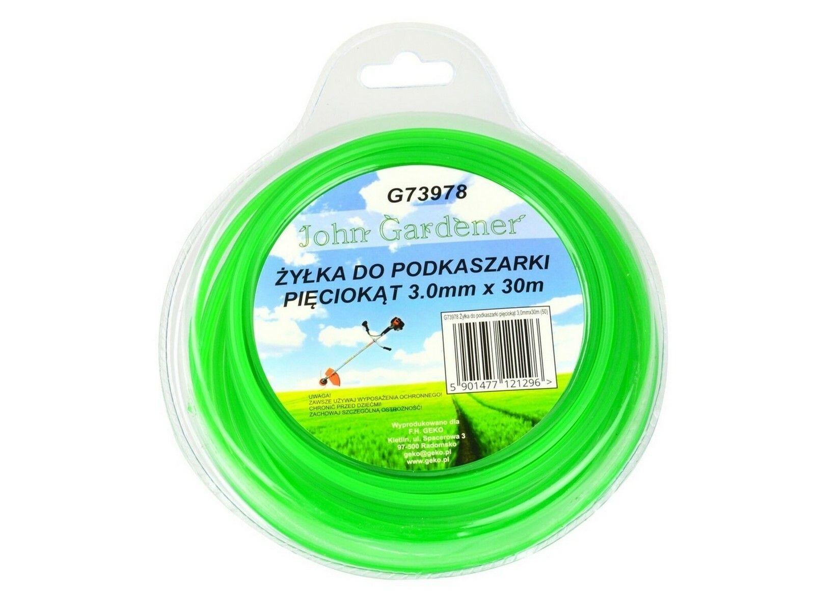 Struna do sekačky zelená zesílená, 3,0mm, 30m, hvězdicový profil, nylon GEKO