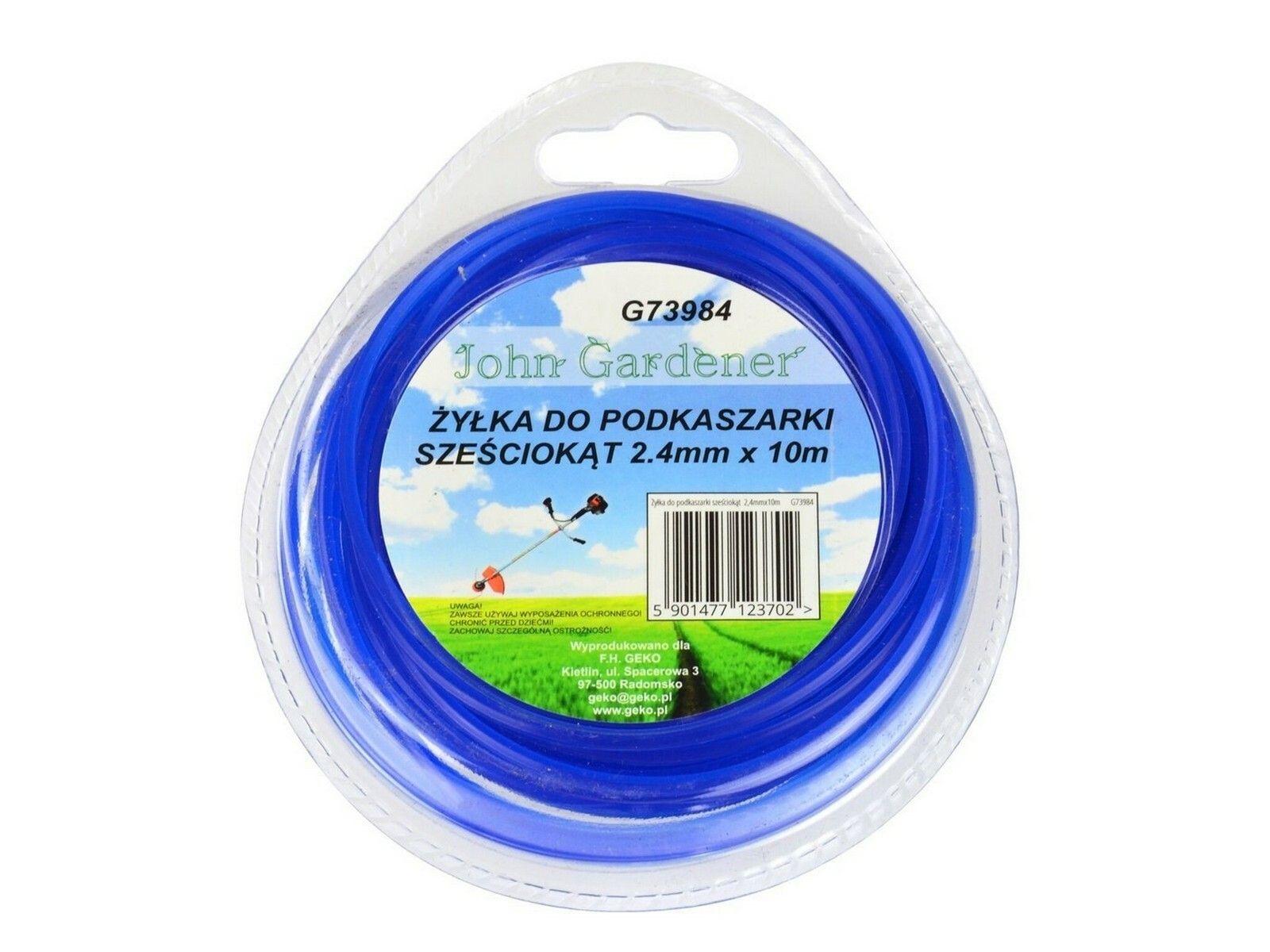 Struna do sekačky modrá, 2,4mm, 10m, hvězdicový profil, nylon, GEKO G73985