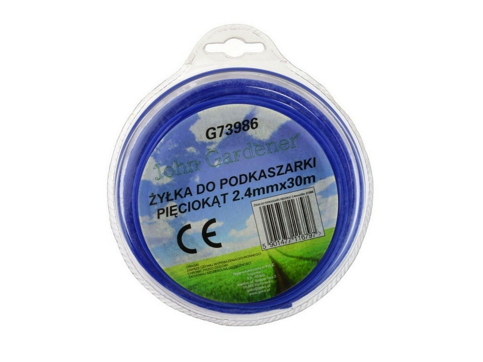 Struna do sekačky modrá, 2,4mm, 30m, hvězdivocý profil, nylon, GEKO