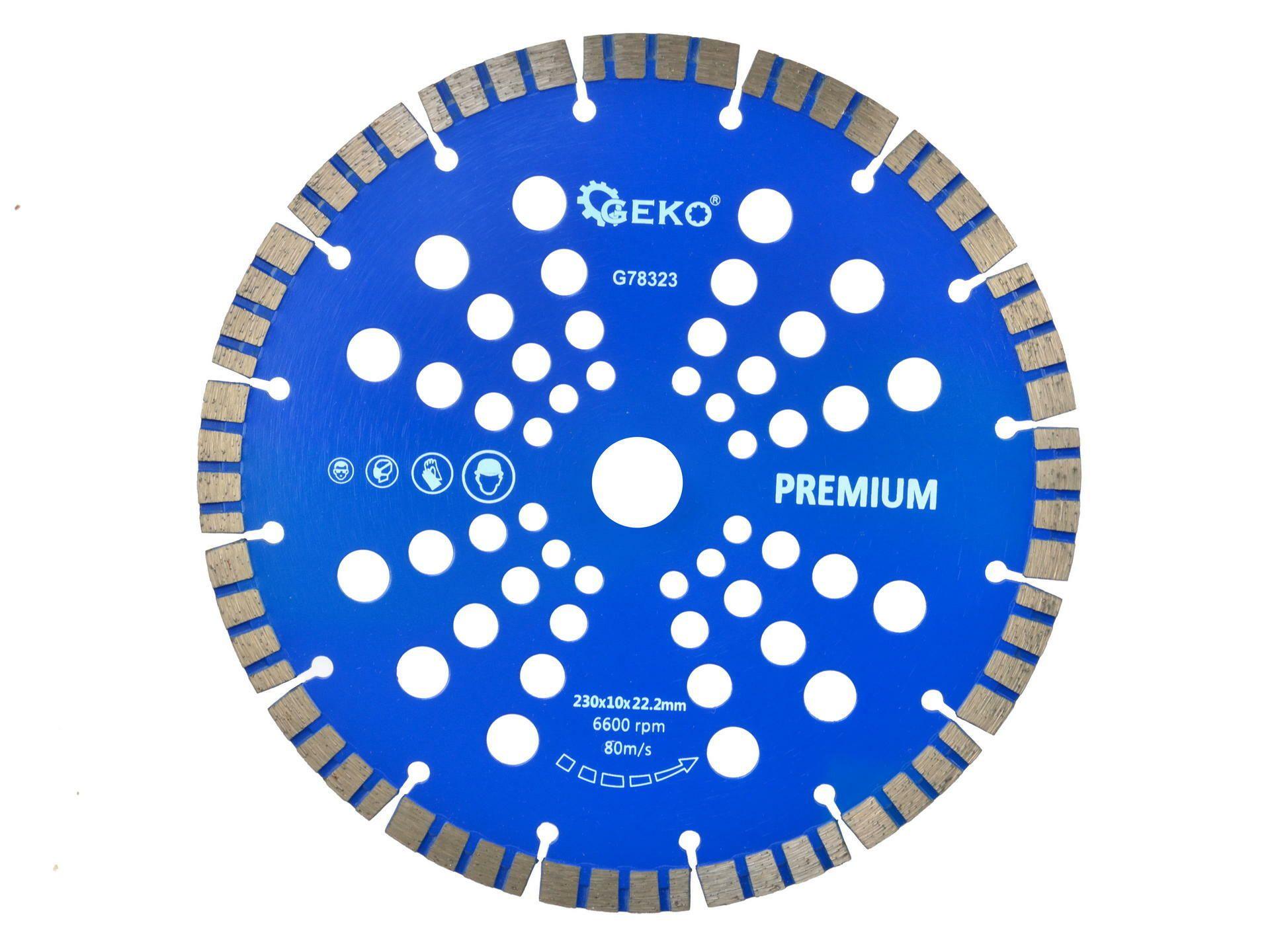 Řezný kotouč diamantový segmentový, 230x22x10mm, GEKO G78323