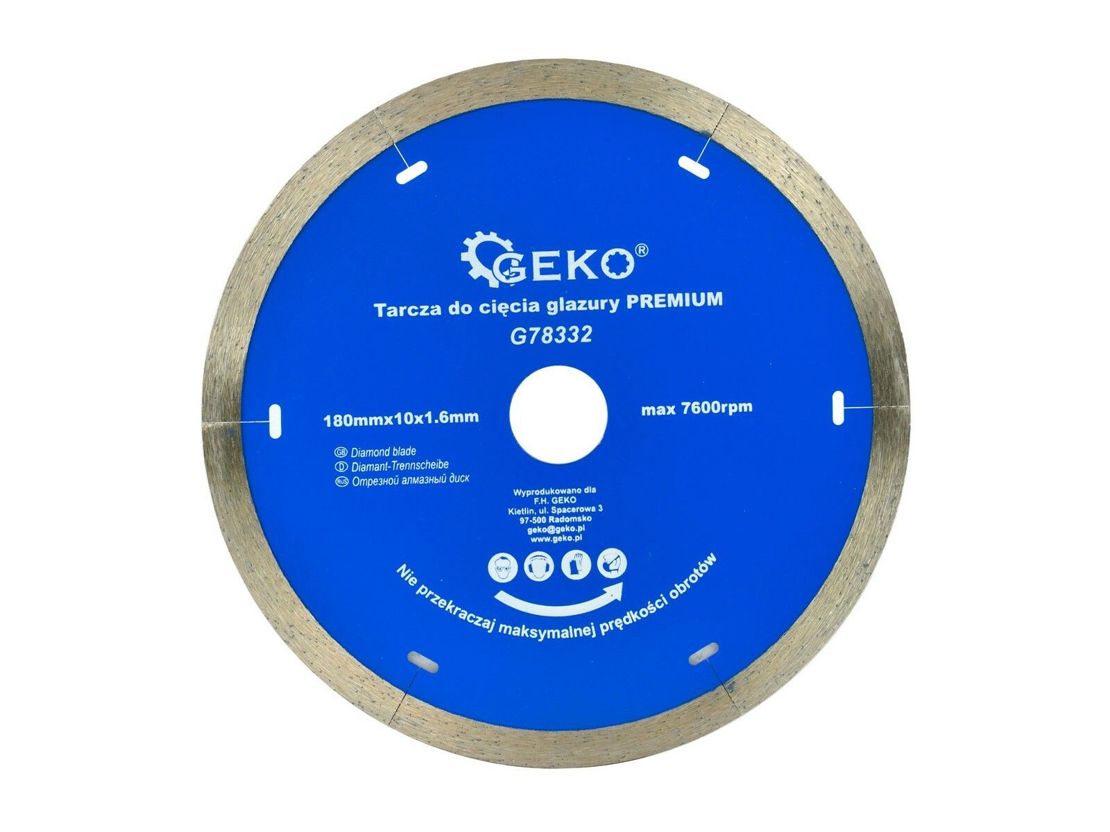 GEKO G78332 Diamantový řezný kotouč na keramické dlaždice 180mm x 10 x 1,6mm