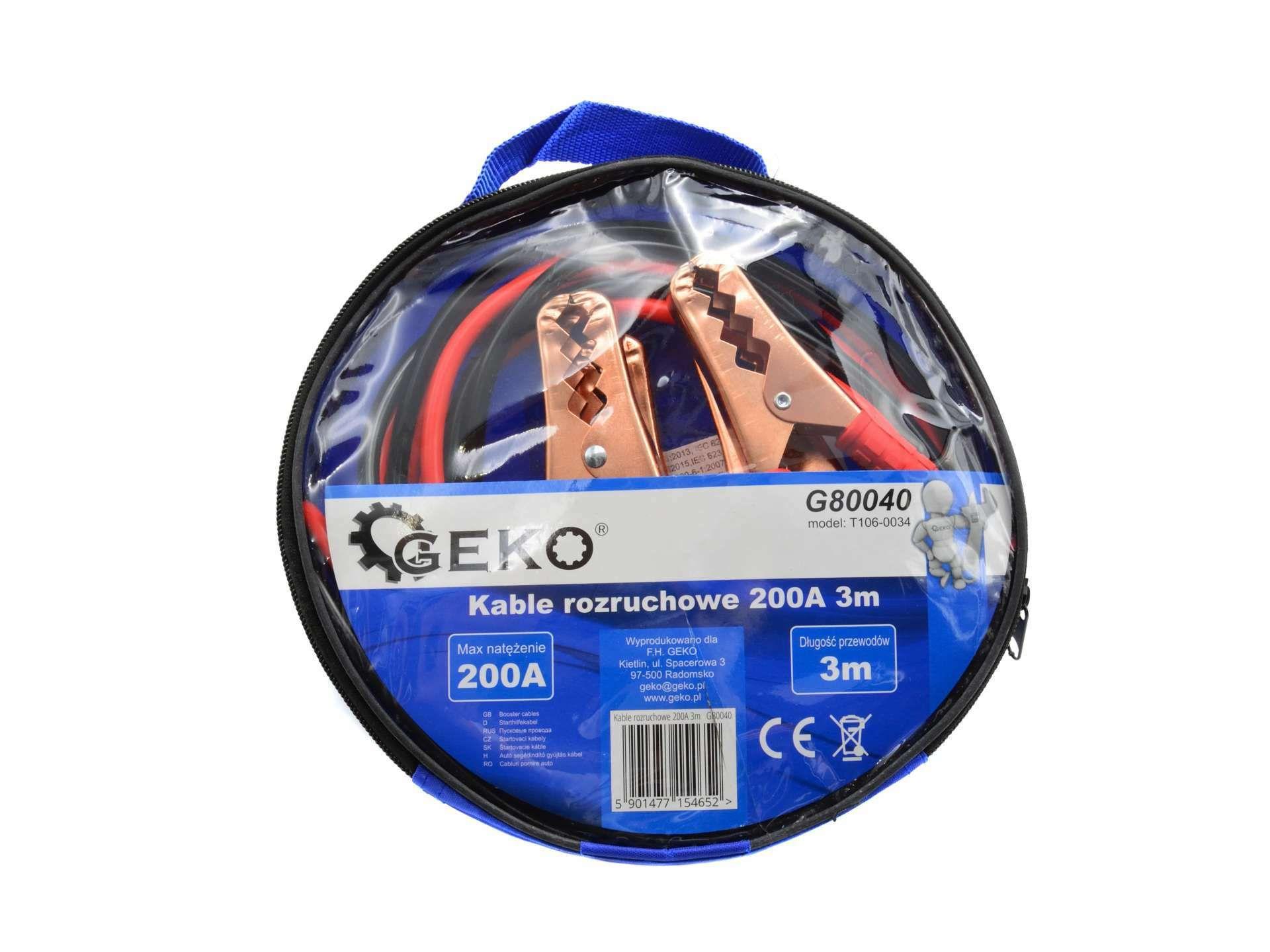Startovací kabely 200A 3m GEKO