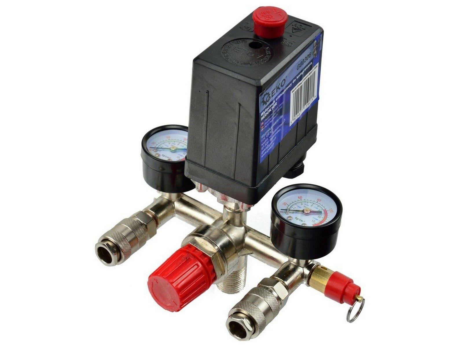 Tlakový spínací ventil + ukazatele tlaku pro vzduchový kompresor, GEKO G80306