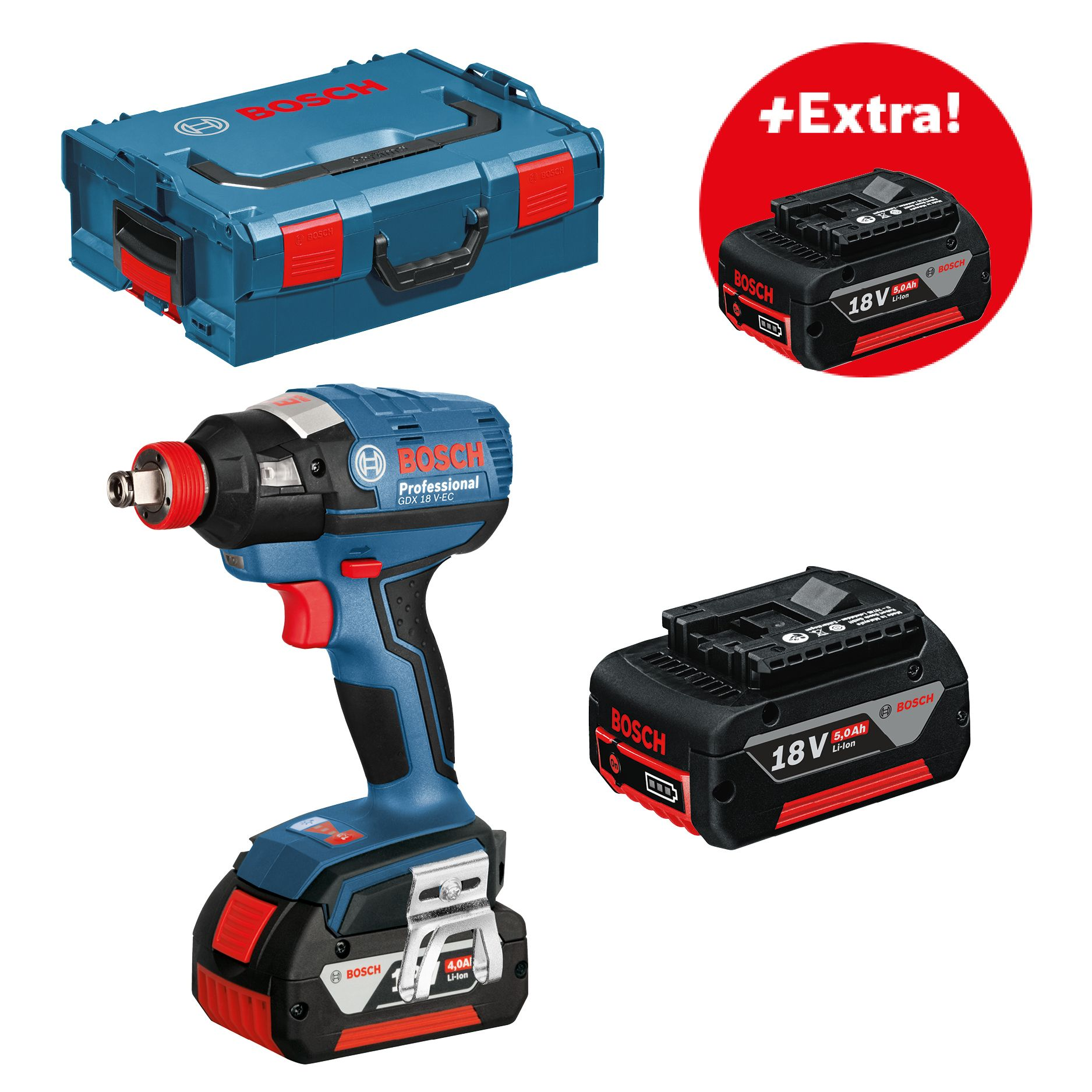 Aku rázový utahovák 3x5,0Ah + L-Boxx Bosch GDX 18 V-EC Professional, 06019B9107