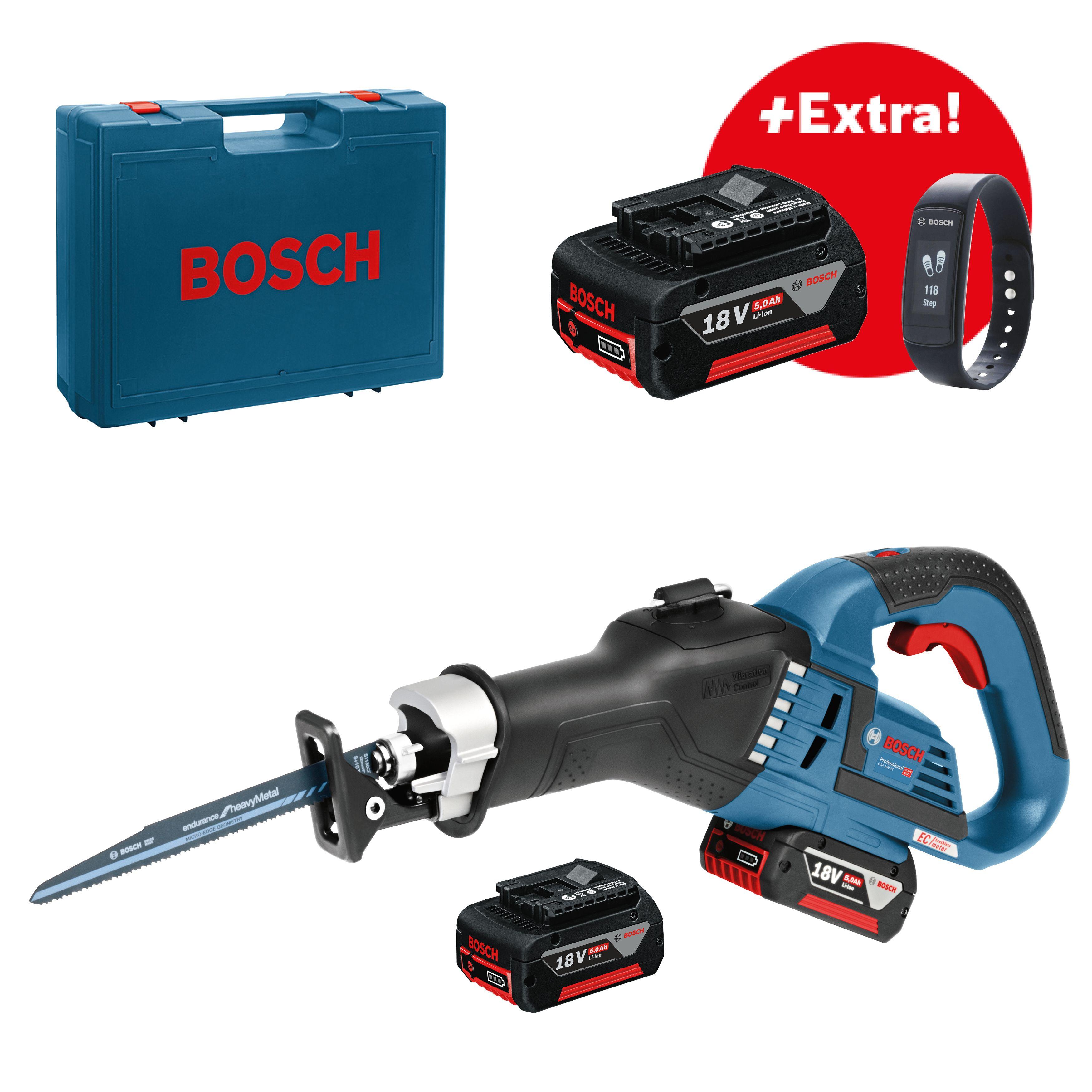 Akumulátorová pila ocaska 18V 3x5,0Ah Bosch GSA 18V-32 Professional + fitness náramek