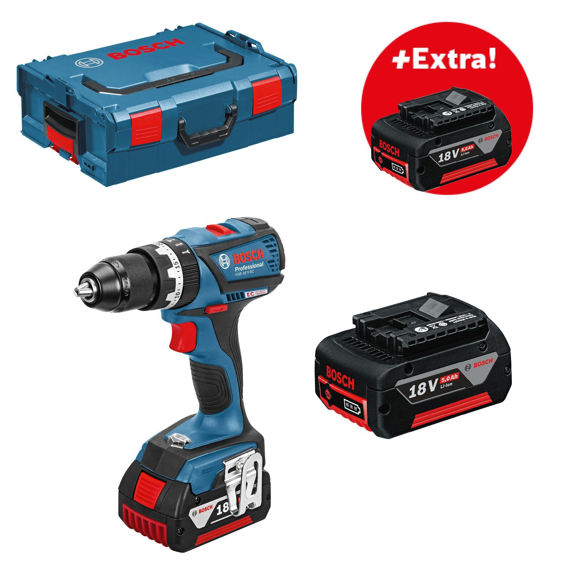 Aku příklepová vrtačka 3x5,0Ah Bosch GSB 18 V-EC Professional, 06019E9104