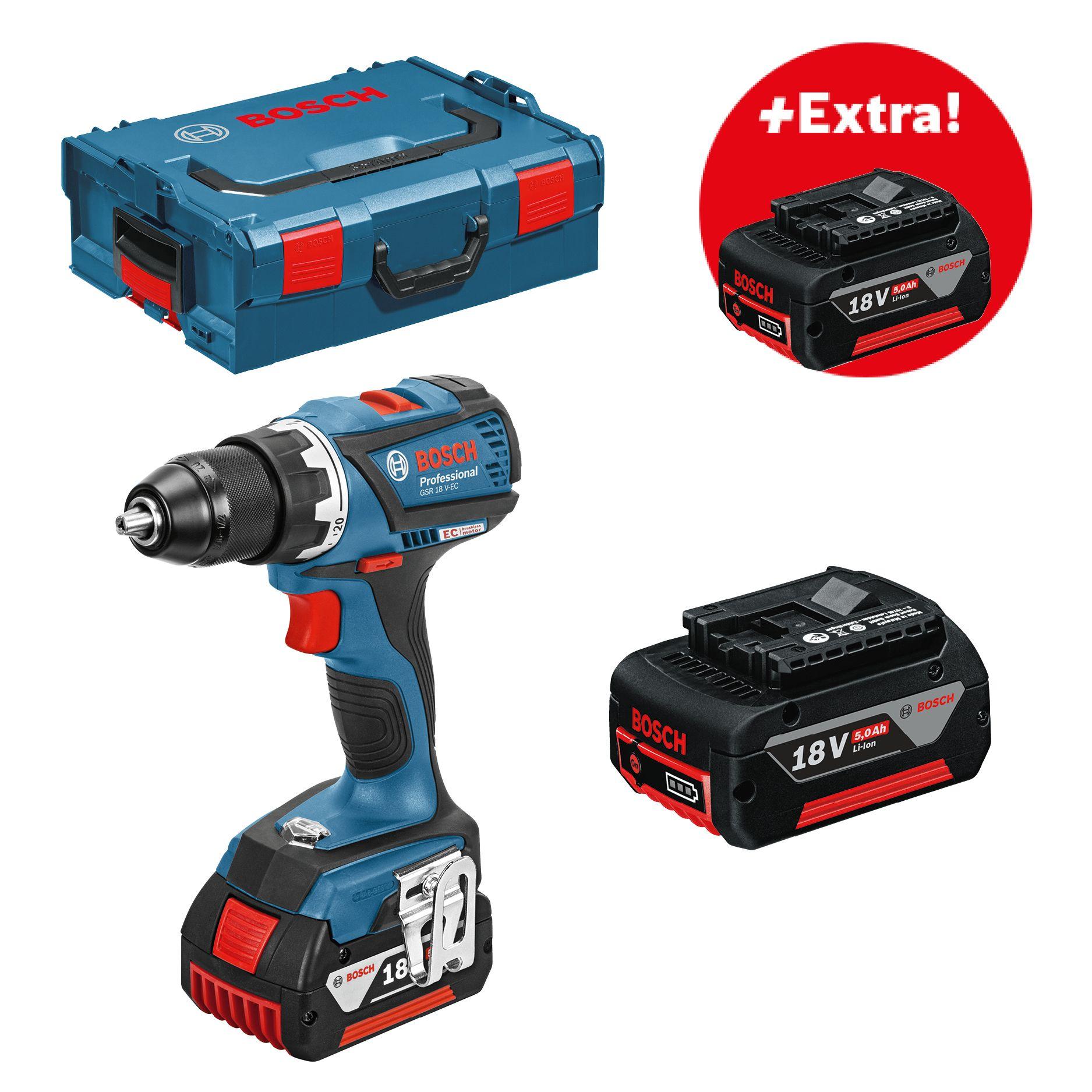 Aku vrtací šroubovák 3x5,0Ah + L-Boxx Bosch GSR 18 V-EC Professional, 06019E8104