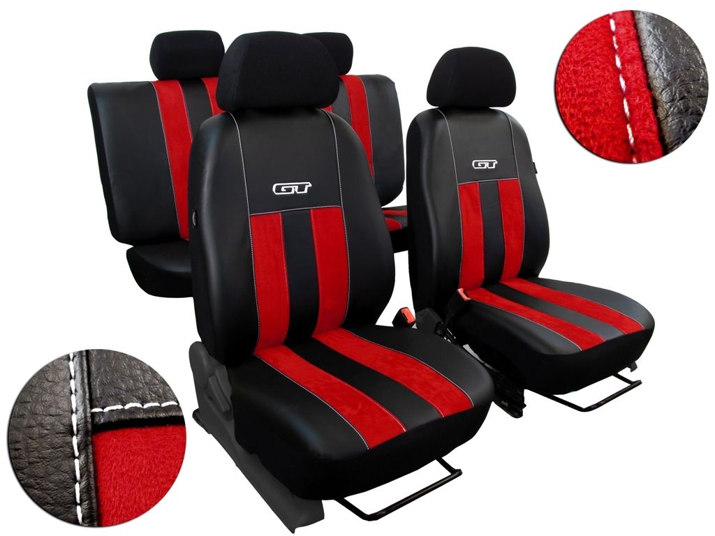Autopotahy Škoda Fabia II, kůže s alcantarou, GT červené