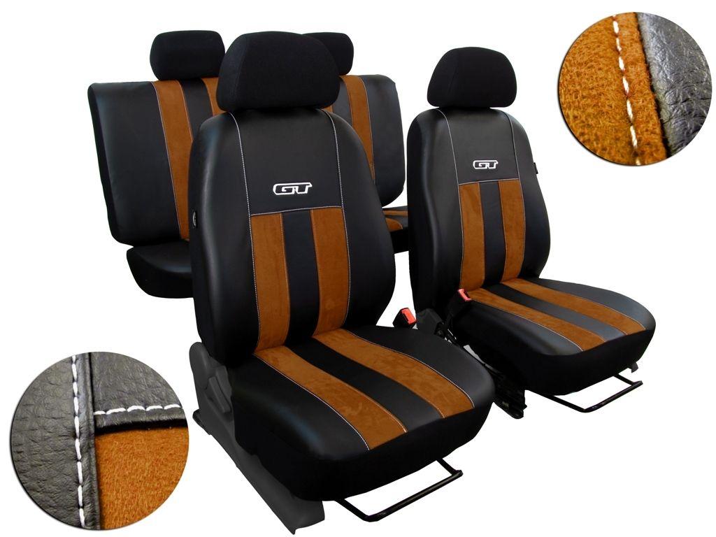 Autopotahy Volkswagen VW Crafter,3 místa, stolek, GT kožené s alcantarou, hnědé SIXTOL