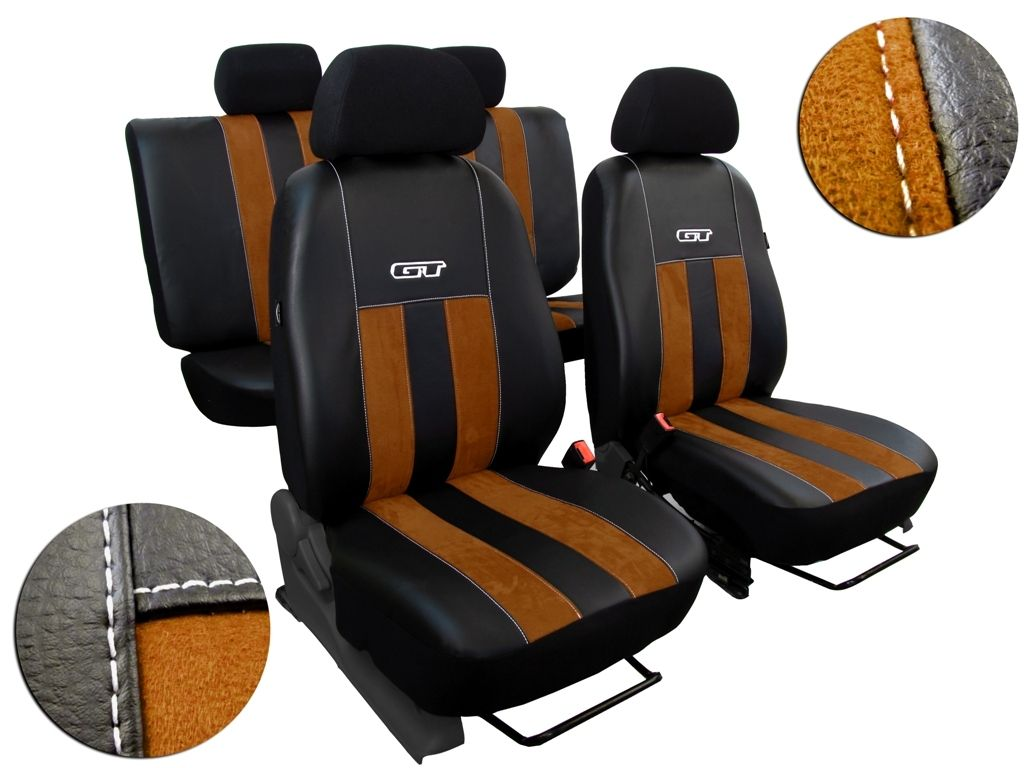 Autopotahy Škoda Fabia II, kůže s alcantarou, GT hnědé