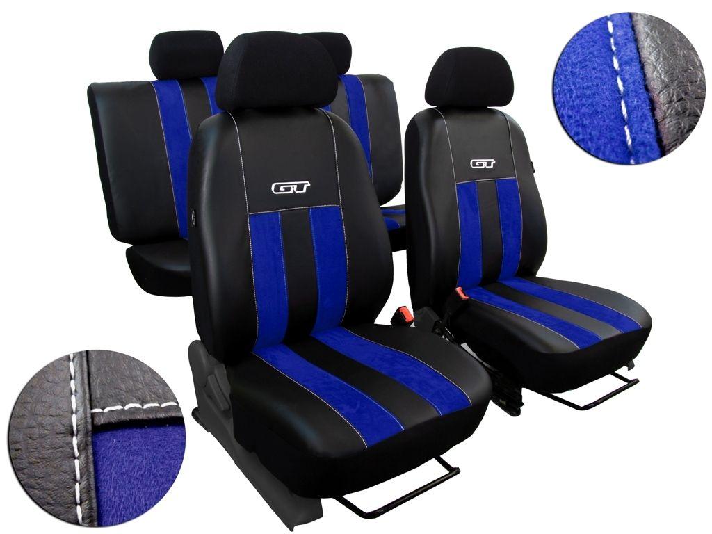 Autopotahy kožené s alcantarou GT modré SIXTOL