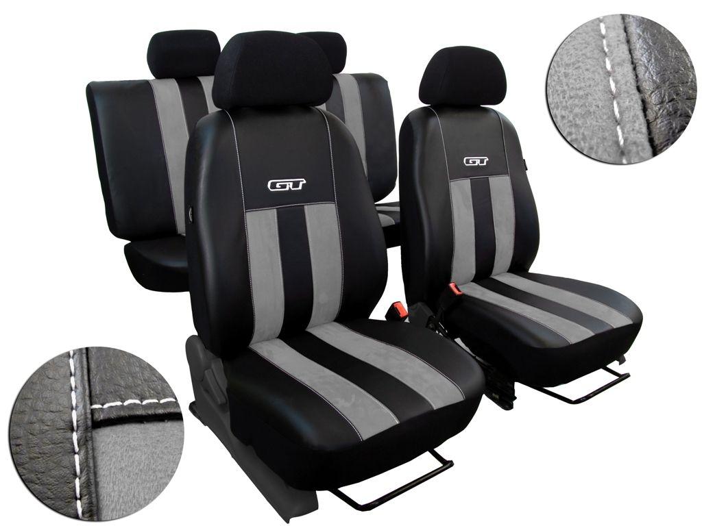 Autopotahy Volkswagen VW Crafter,3 místa, stolek, GT kožené s alcantarou, švětlešedé