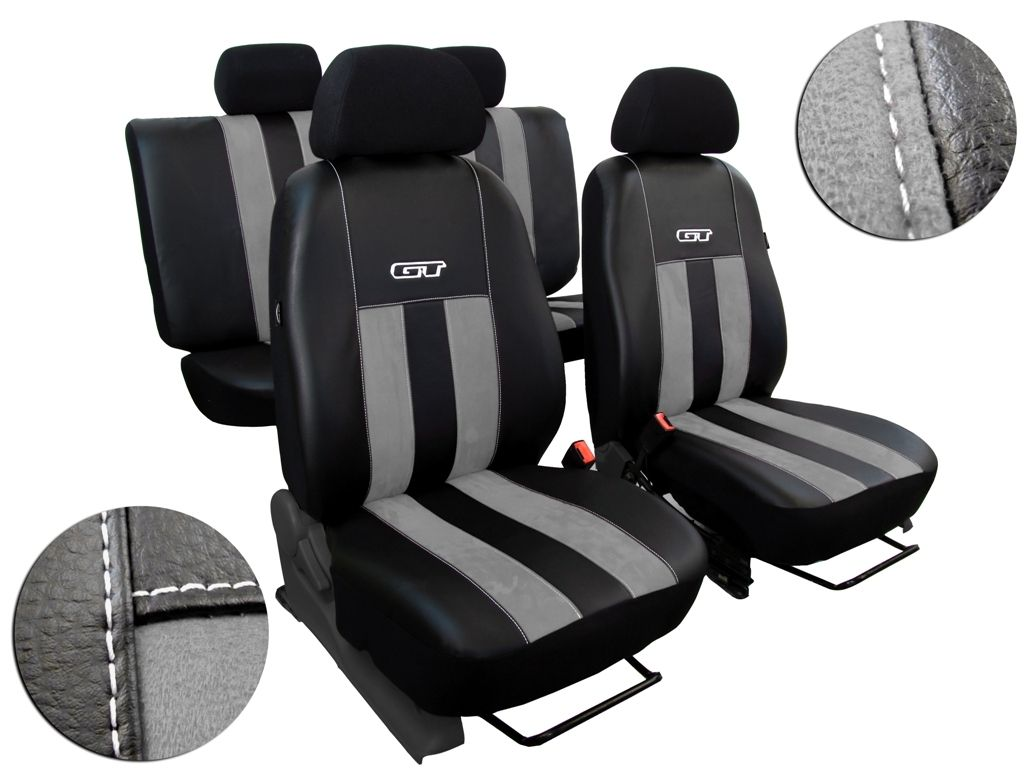 Autopotahy Volkswagen VW Crafter,3 místa, stolek, GT kožené s alcantarou, švětlešedé SIXTOL