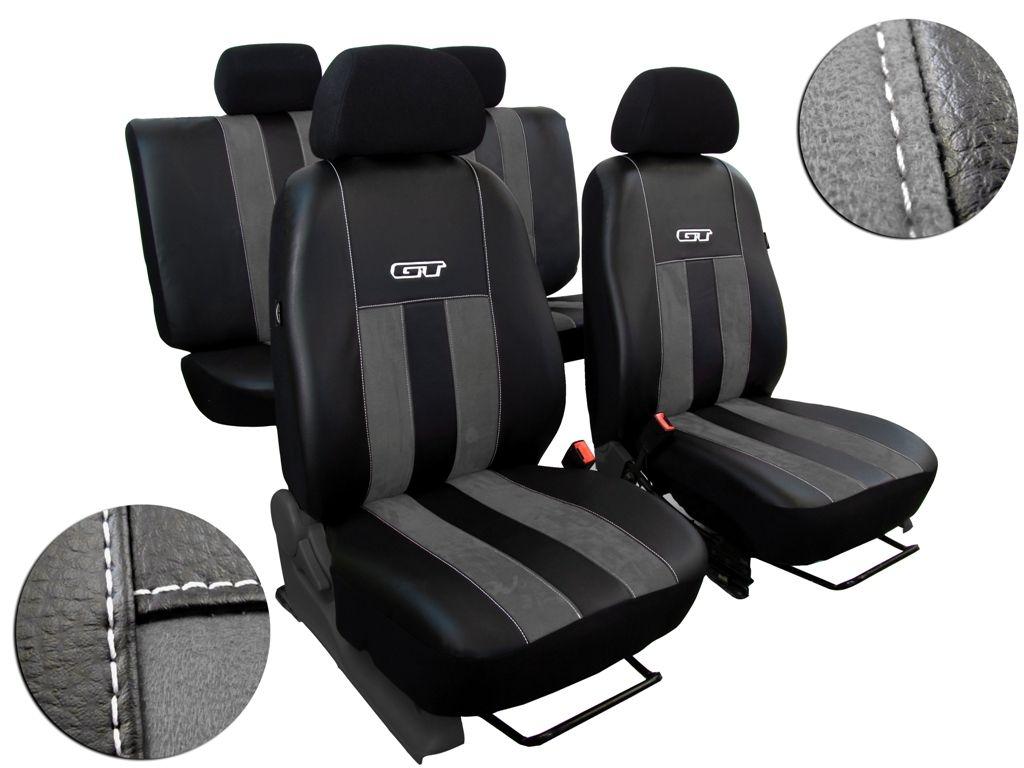 Autopotahy Volkswagen VW Crafter,3 místa, stolek, GT kožené s alcantarou, tmavošedé SIXTOL