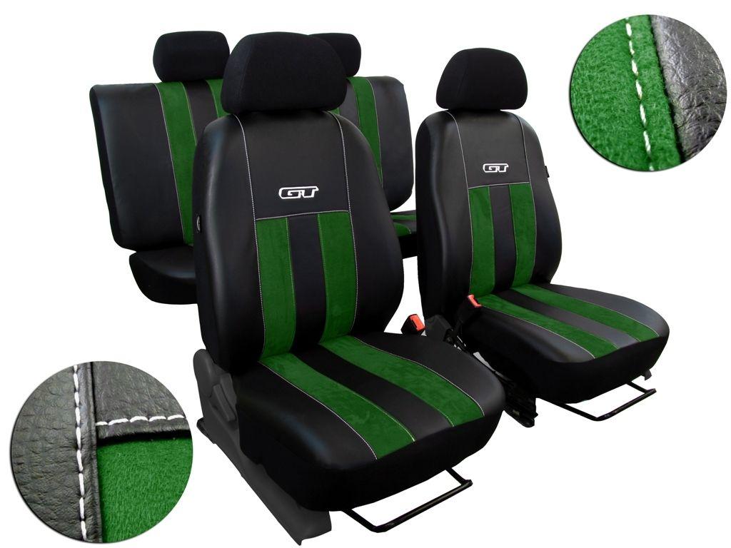 Autopotahy Škoda Rapid, kůže/alcantara GT zelené, děl. zadní op, bez zadní loketní opěrky SIXTOL