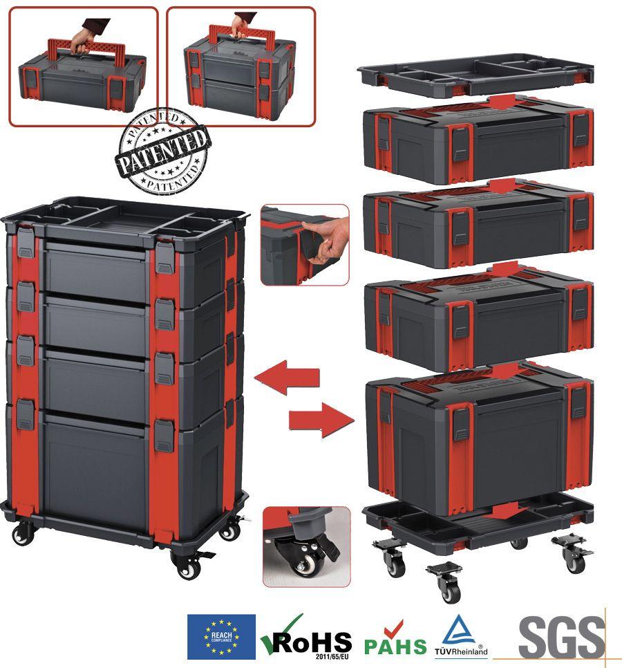 Modulový 6-dílný vozík na nářadí se samostatnými kufry Genborx SSML6
