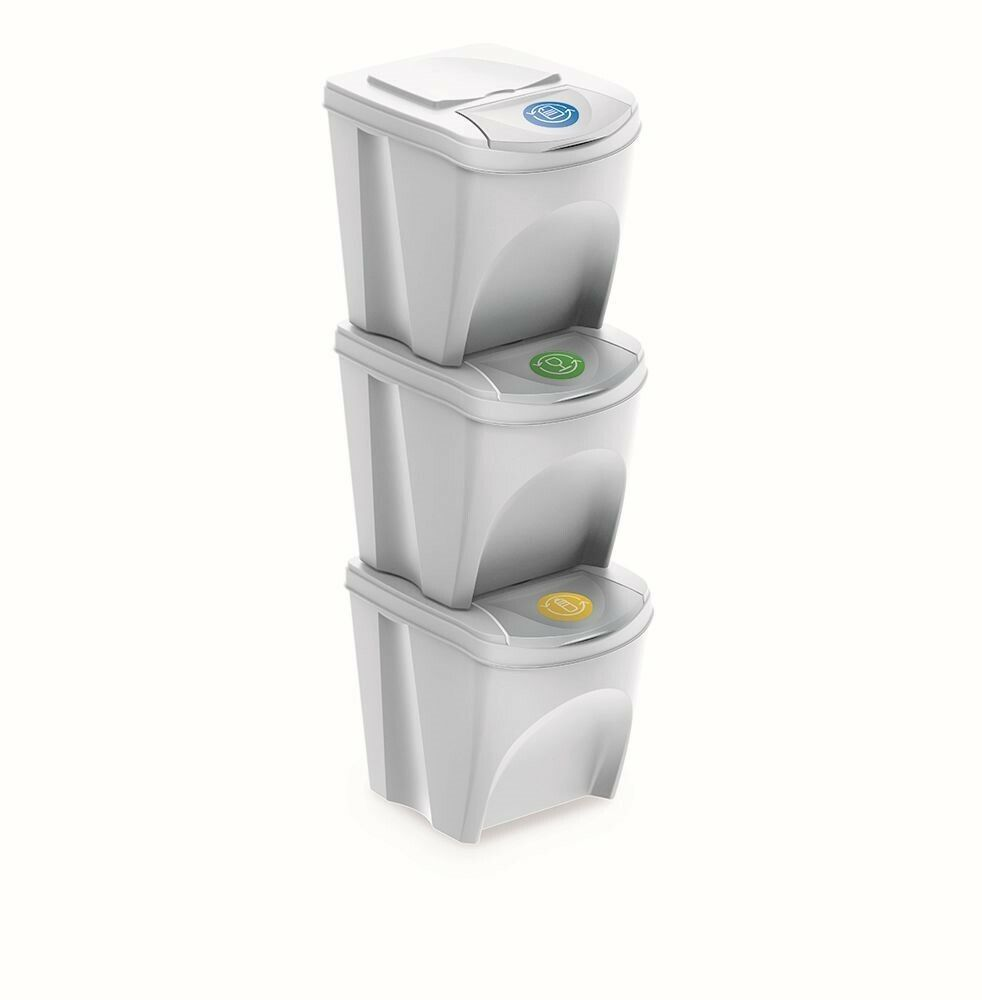 Sada 3 odpadkových košů SORTIBOX bílá 392X293X335 s bílým víkem a nálepkami PROSPERPLAST