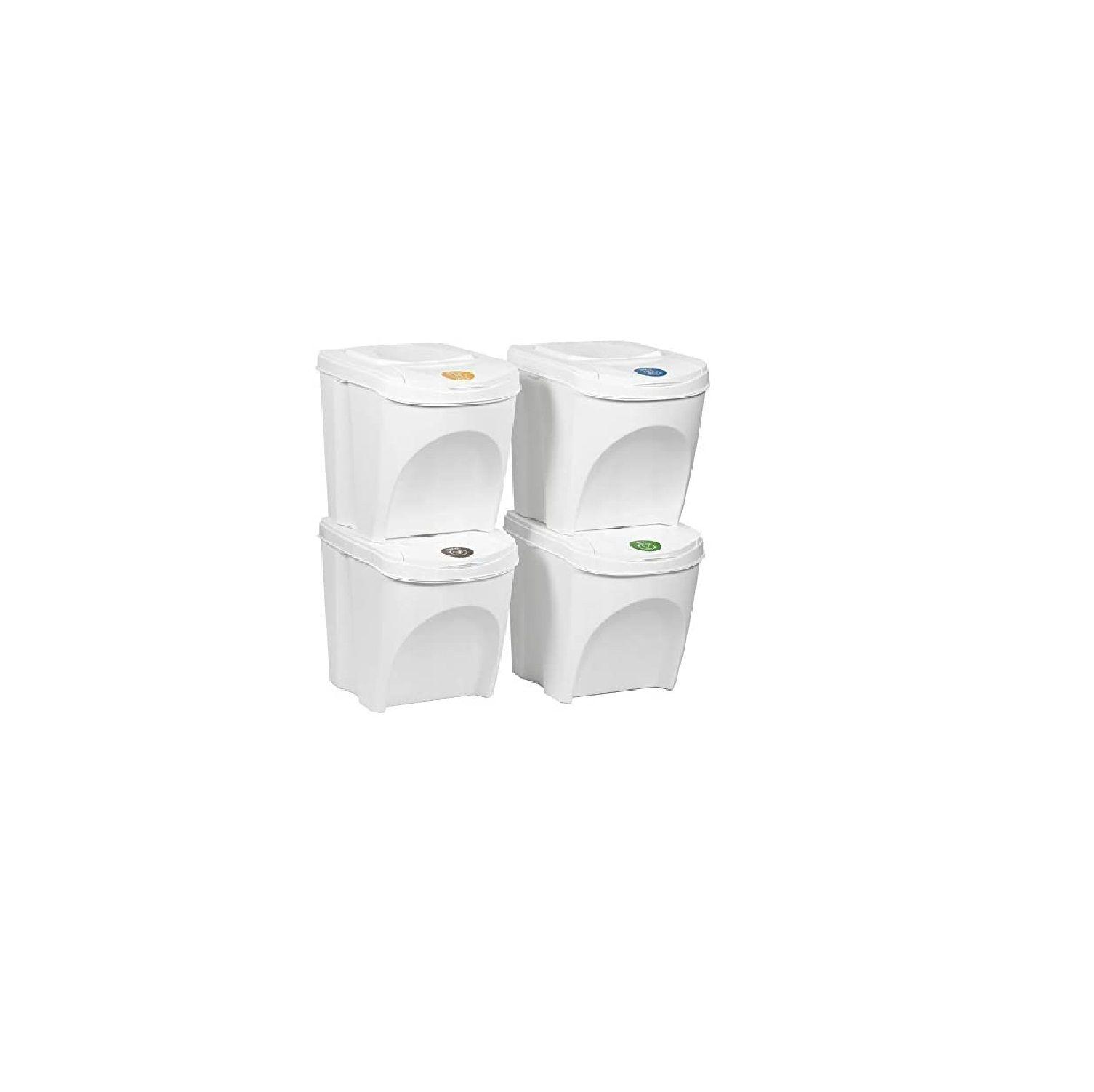 Sada 4 odpadkových košů SORTIBOX bílá 392x293x325 s bílým víkem a nálepkami PROSPERPLAST