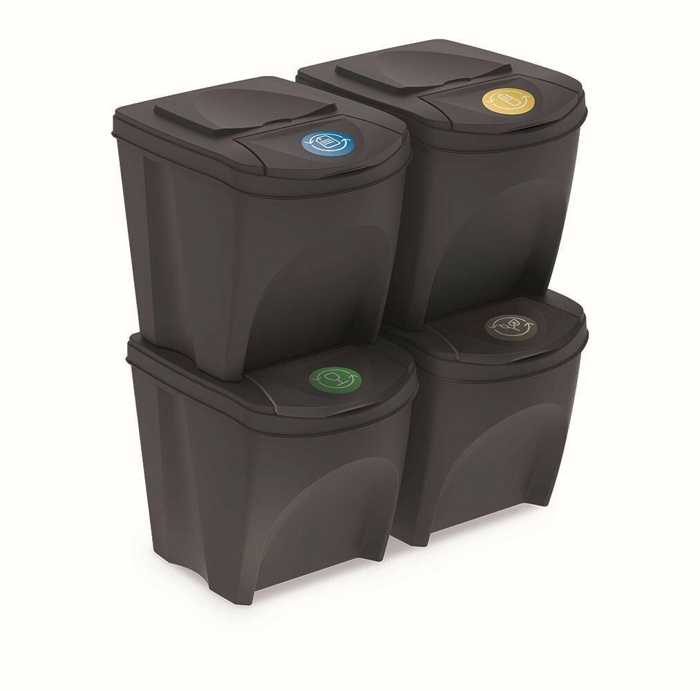Sada 4 odpadkových košů SORTIBOX ANTRACIT 392x293x325 PROSPERPLAST