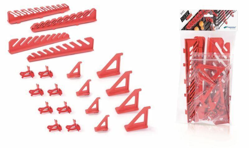 Sada držáků BINEER HOOKS na montážní panely, červené, 20 ks PROSPERPLAST
