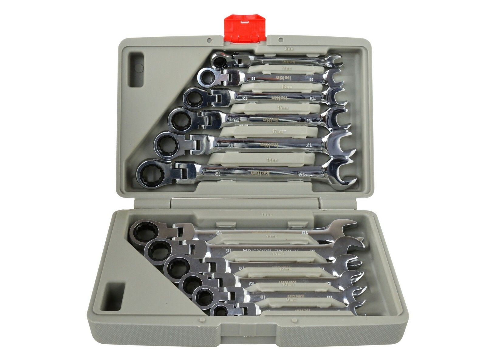 Klíče ráčnové očkoploché s kloubem 8-19mm 12ks KELTIN
