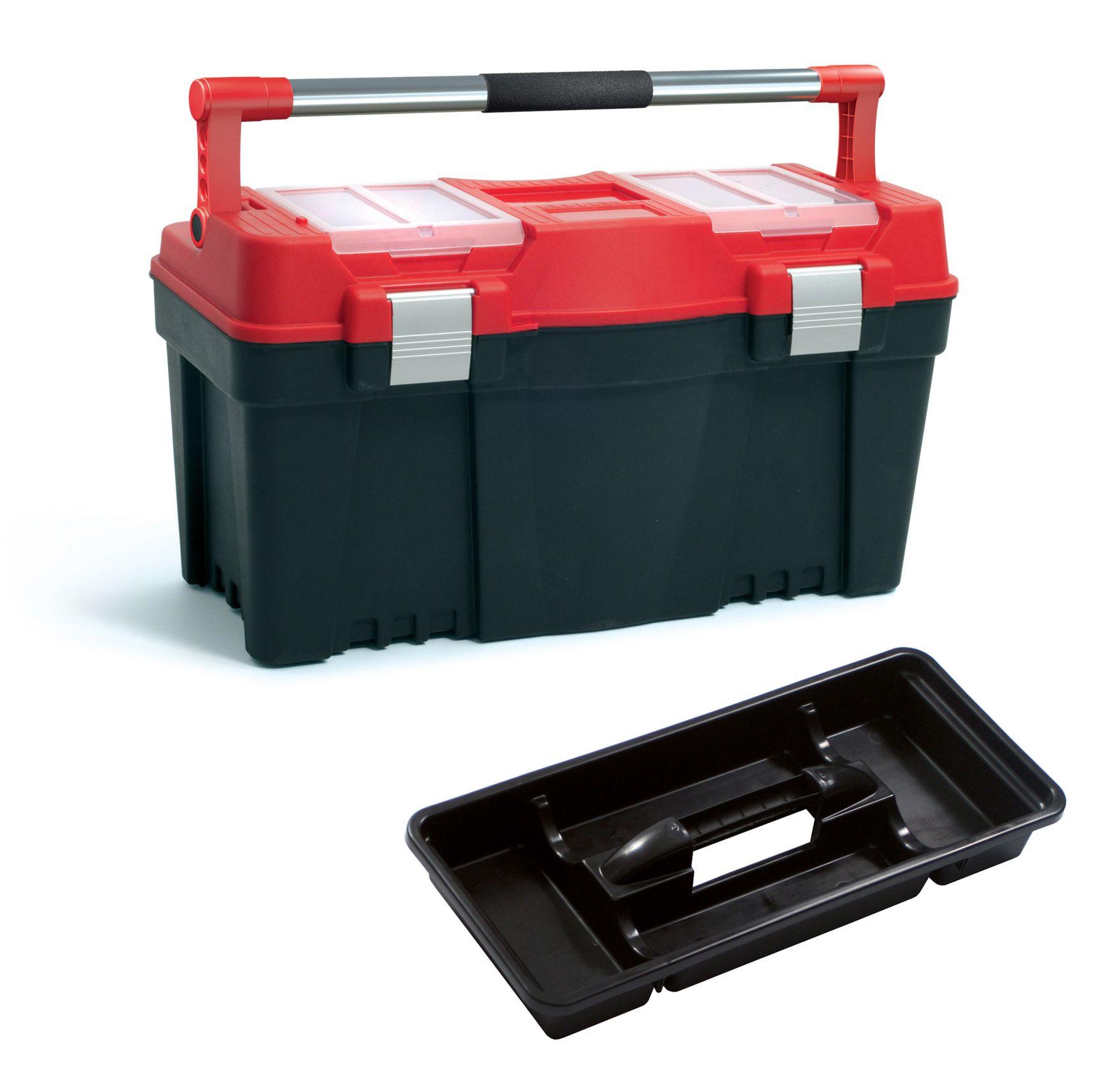 """Plastový box na nářadí 23,5"""", nosnost 25 kg, PRACTIC, 2 organizéry na víku Prosperplast"""