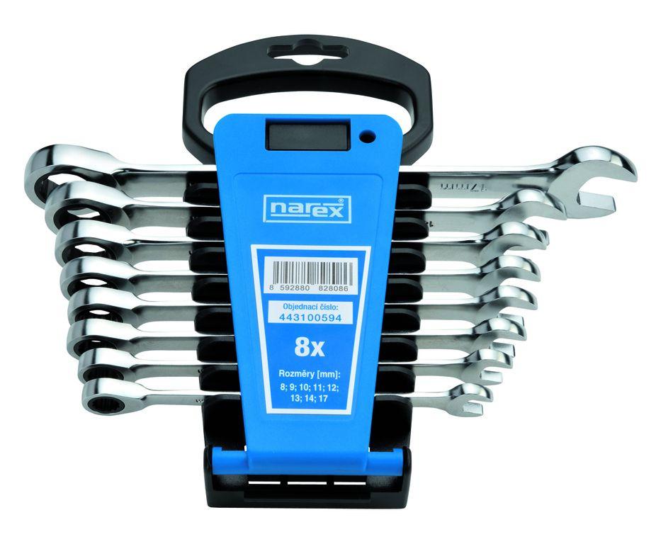 Sada klíčů 8dílná ráčnových plast. držák DIN3113, Narex, 443100594