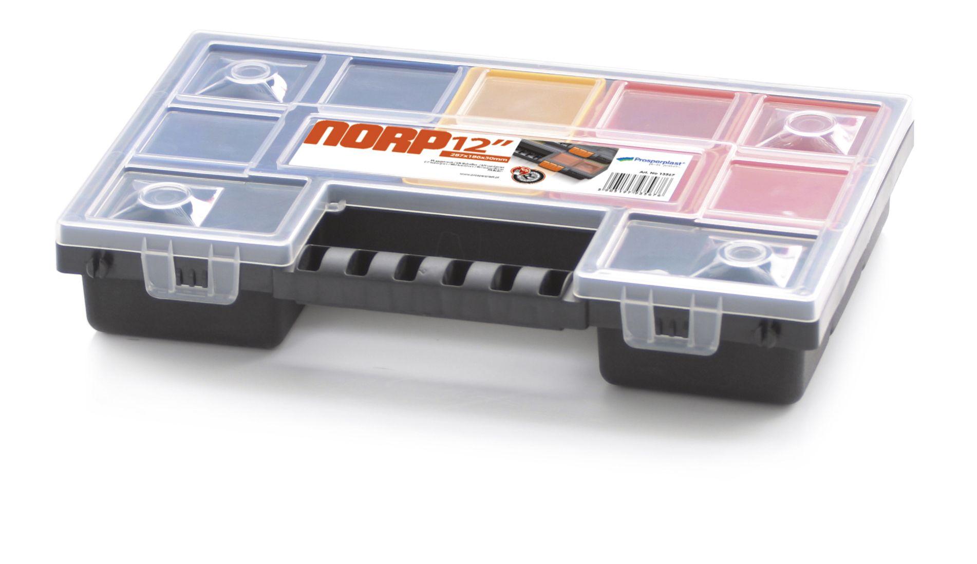 Plastový organizér 12 barevných přihrádek NORP 287x186x50 PROSPERPLAST